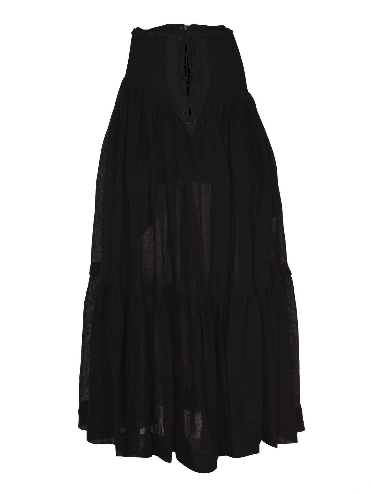 Alberta Ferretti Linens FLOUNCED SKIRT IN BLACK