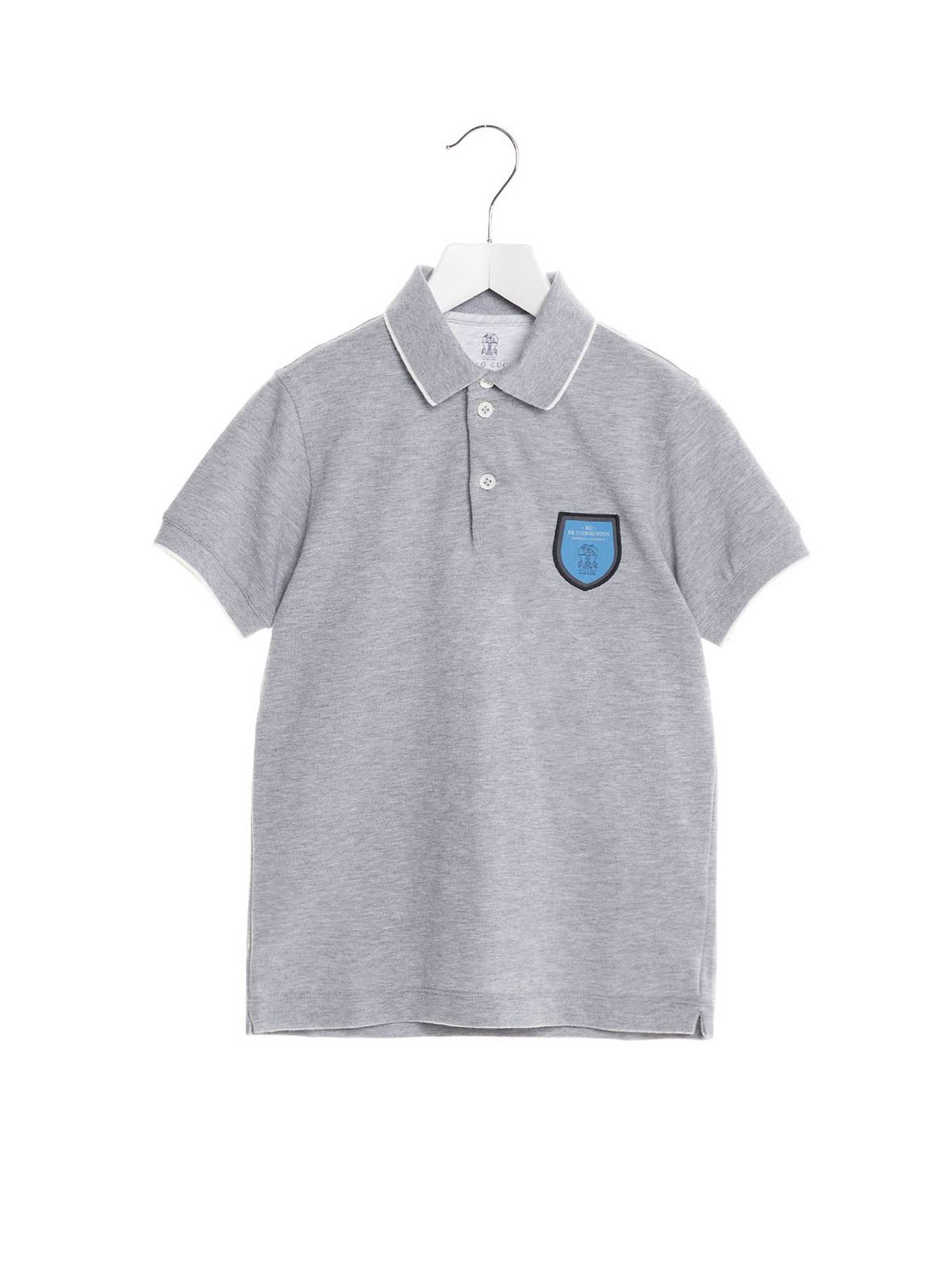 Brunello Cucinelli Polos LOGO PATCH POLO SHIRT IN GREY