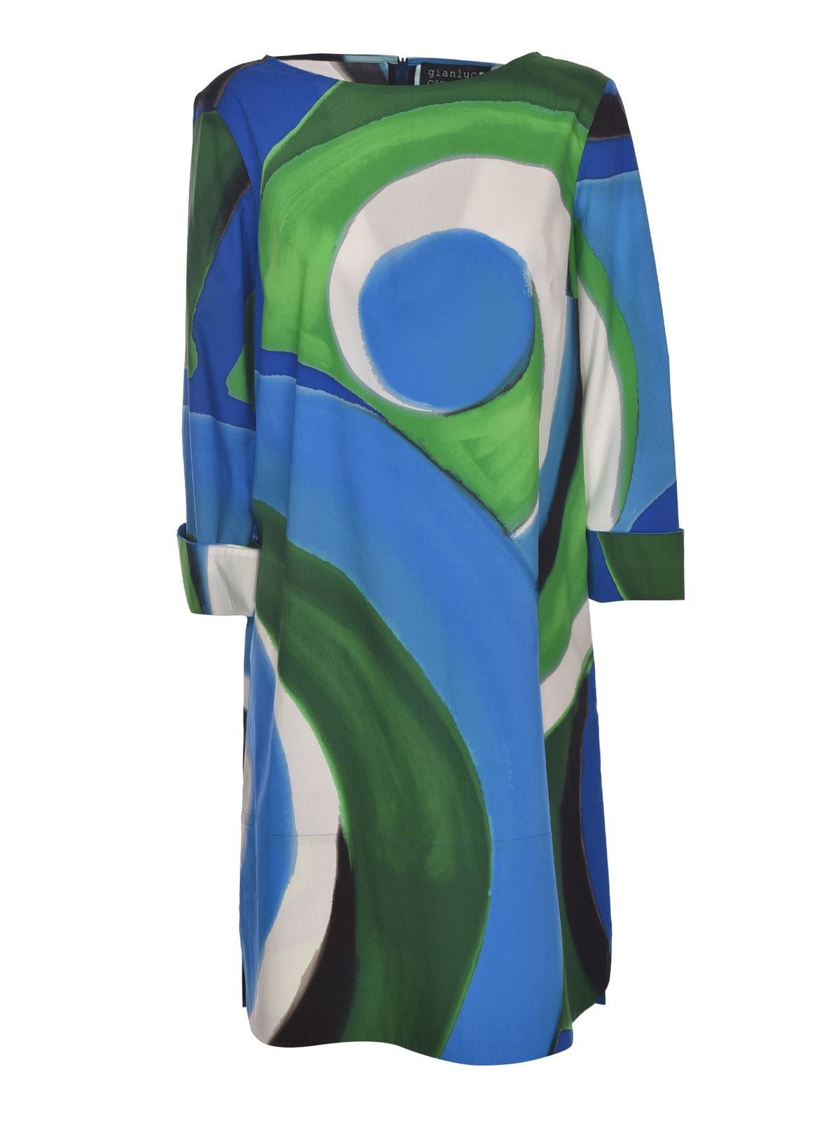 Gianluca Capannolo Cottons CIRCLES PRINT DRESS IN BLUE