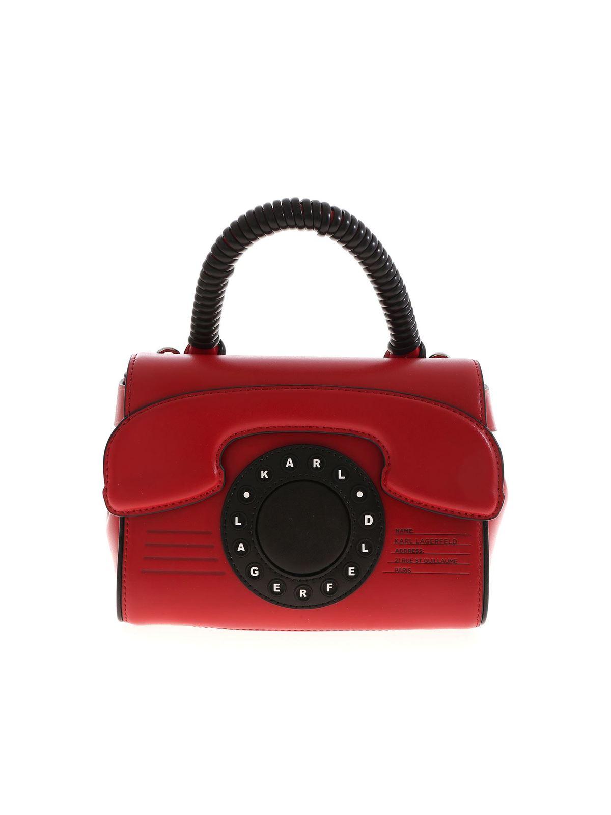 Karl Lagerfeld Leathers KIKONIK TELEPHONE BAG IN RED