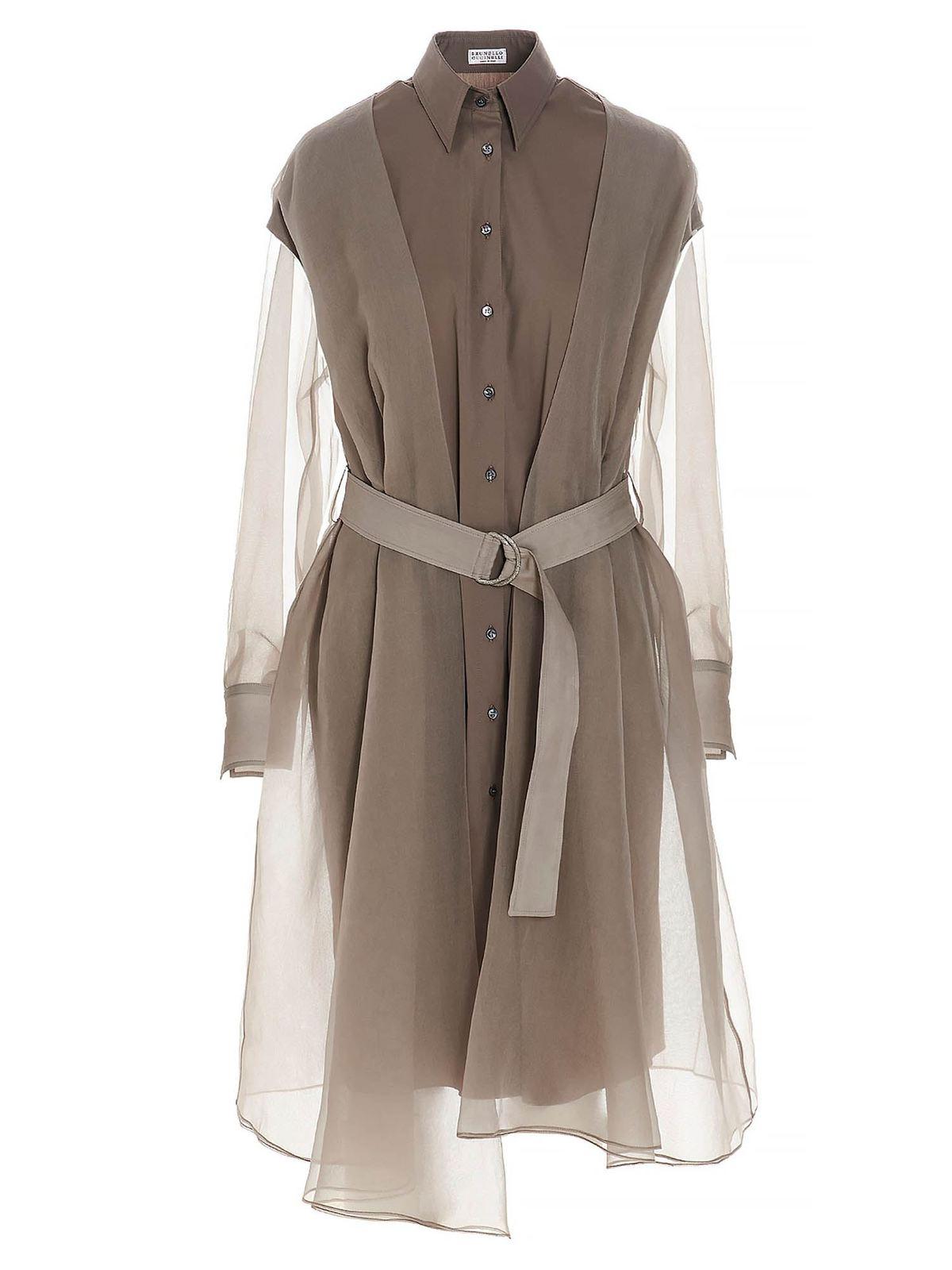 Brunello Cucinelli Silks MONILI BELT SHIRT DRESS IN BEIGE