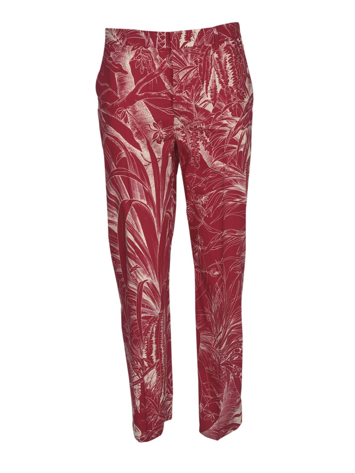 Red Valentino Cottons JUNGLE PRINTED TROUSERS IN PARTY PINK