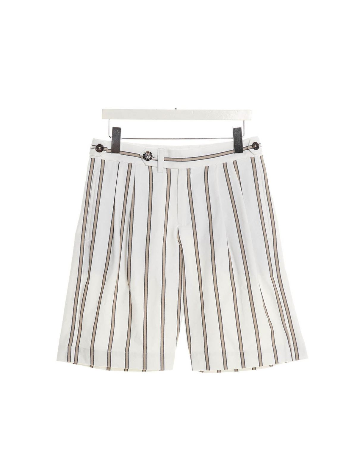 Brunello Cucinelli Cottons SHADOW STRIPED SHORTS IN WHITE