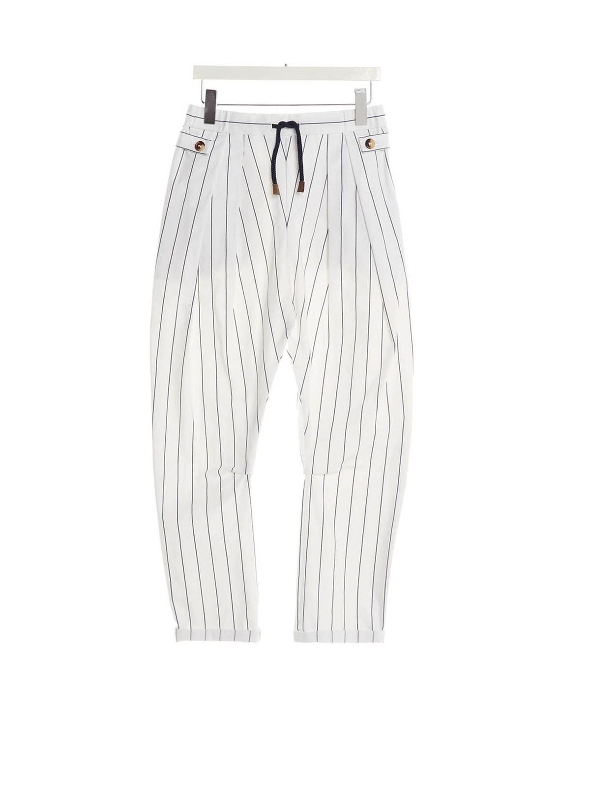 Brunello Cucinelli Pants DRAWSTRING STRIPED PANTS IN WHITE