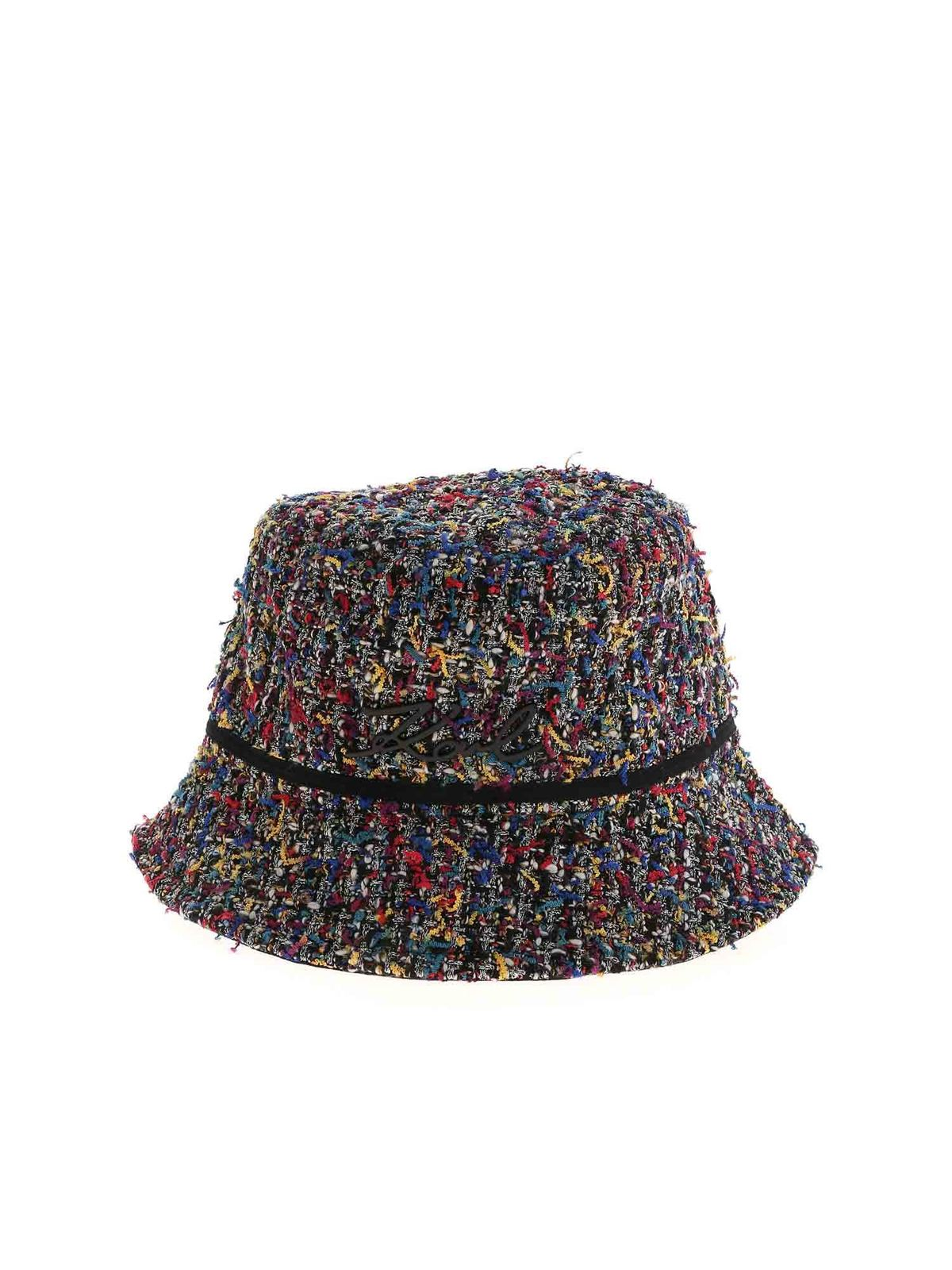 Karl Lagerfeld SIGNATURE BOUCLE MULTICOLOR HAT