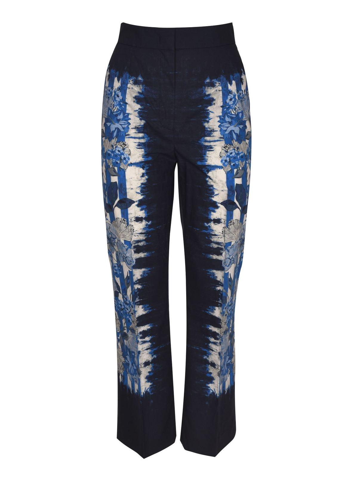 Alberta Ferretti FLORAL TIE DYE PANTS IN BLUE