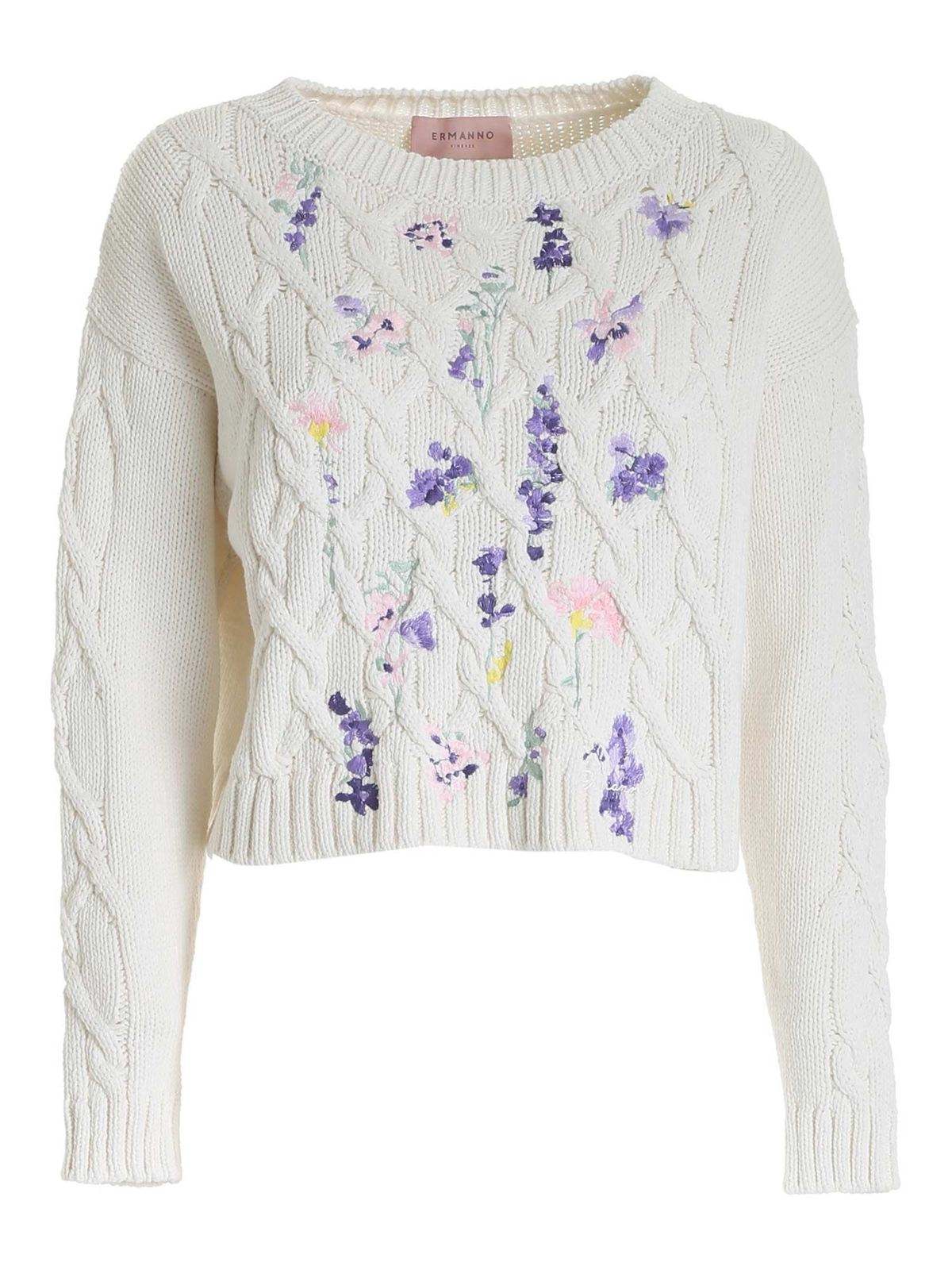Ermanno Scervino EMBROIDERED CROP SWEATER IN IVORY COLOR