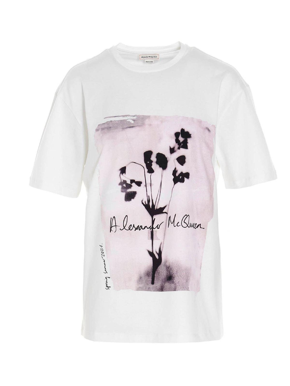 Alexander Mcqueen FLOWER SKULL T-SHIRT IN WHITE