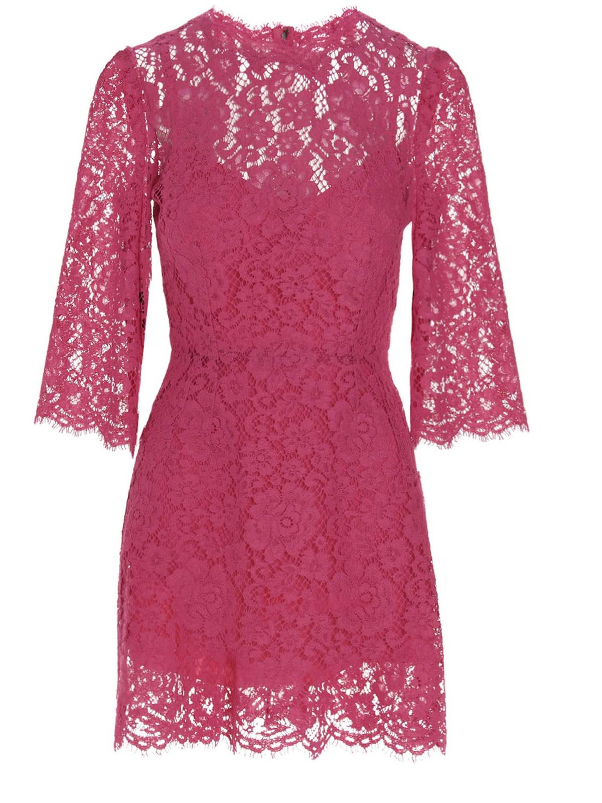 Dolce & Gabbana Cottons LACE DRESS IN FUCHSIA