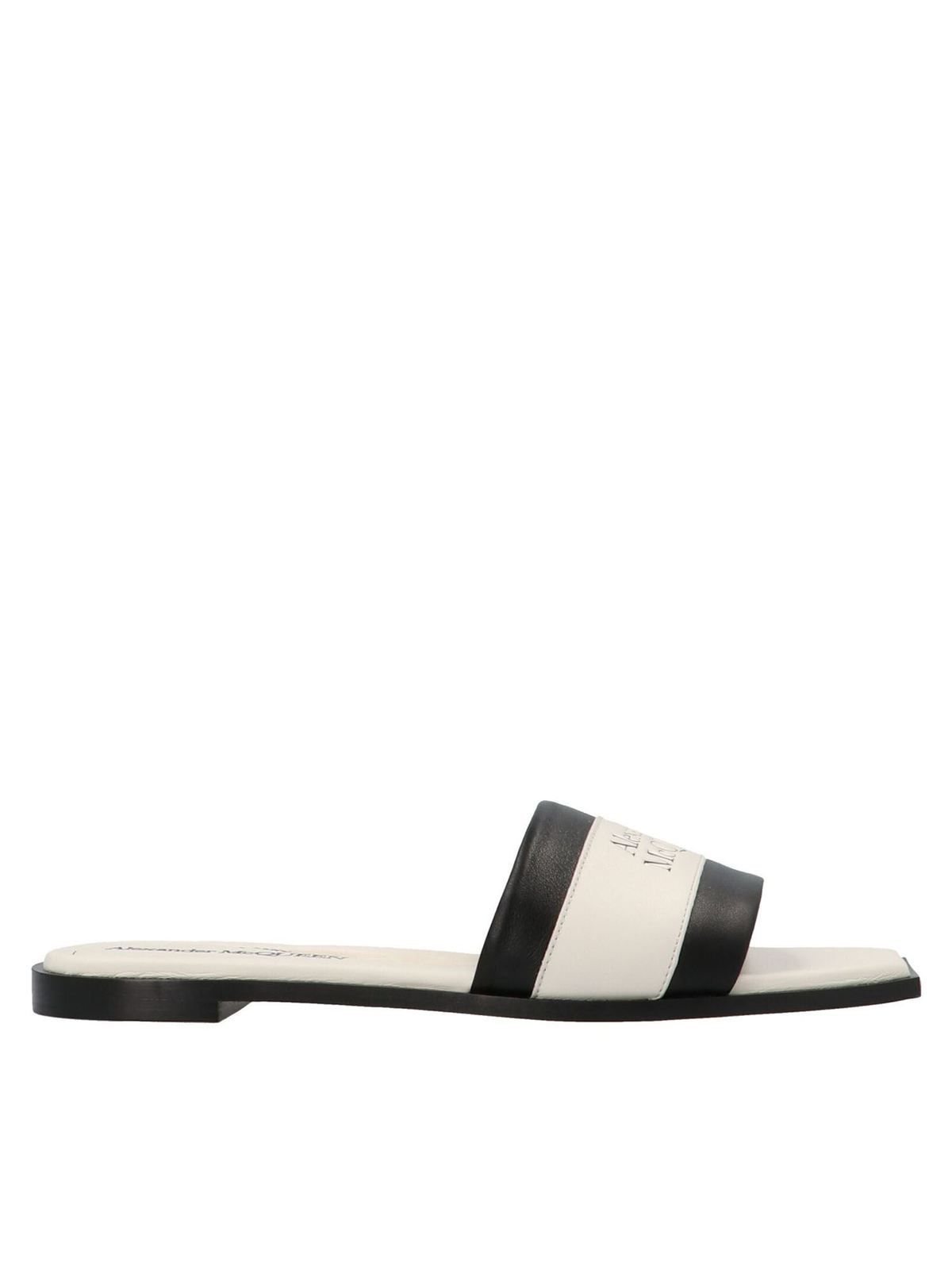 Alexander Mcqueen Logo printed slides in black and white
