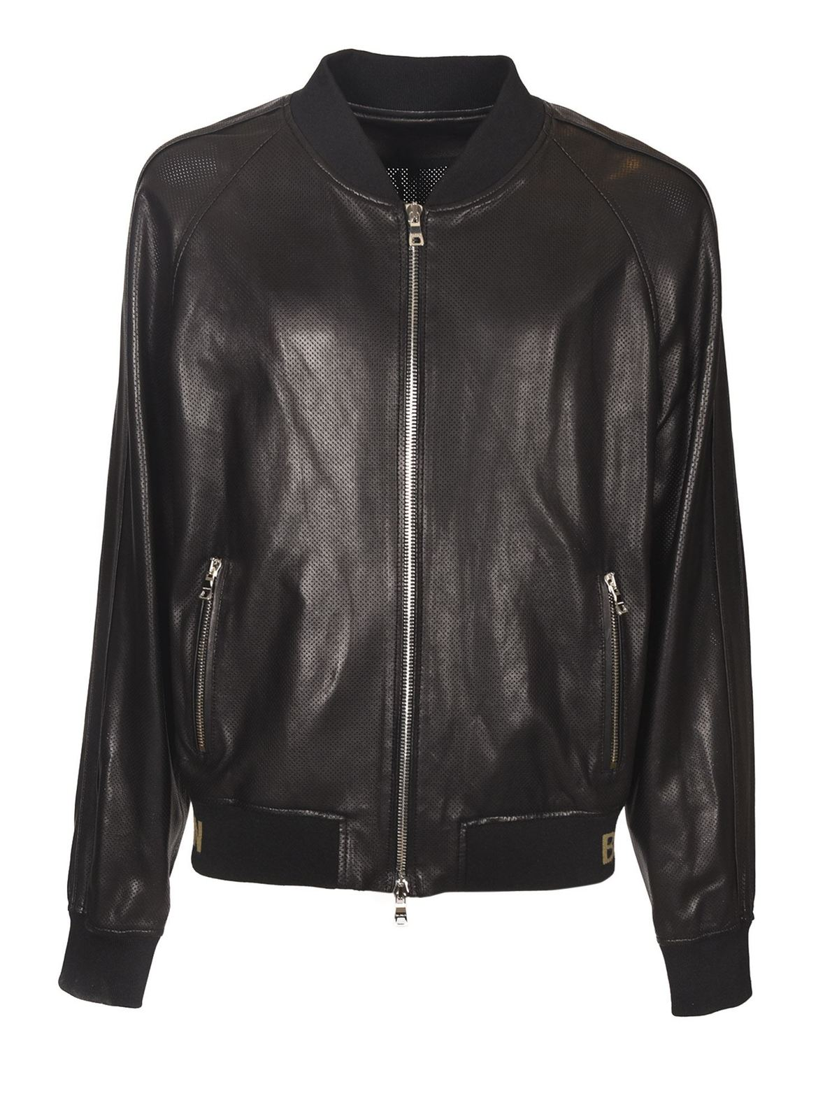 Balmain PERFORATED LEATHER JACKET IN BLACK