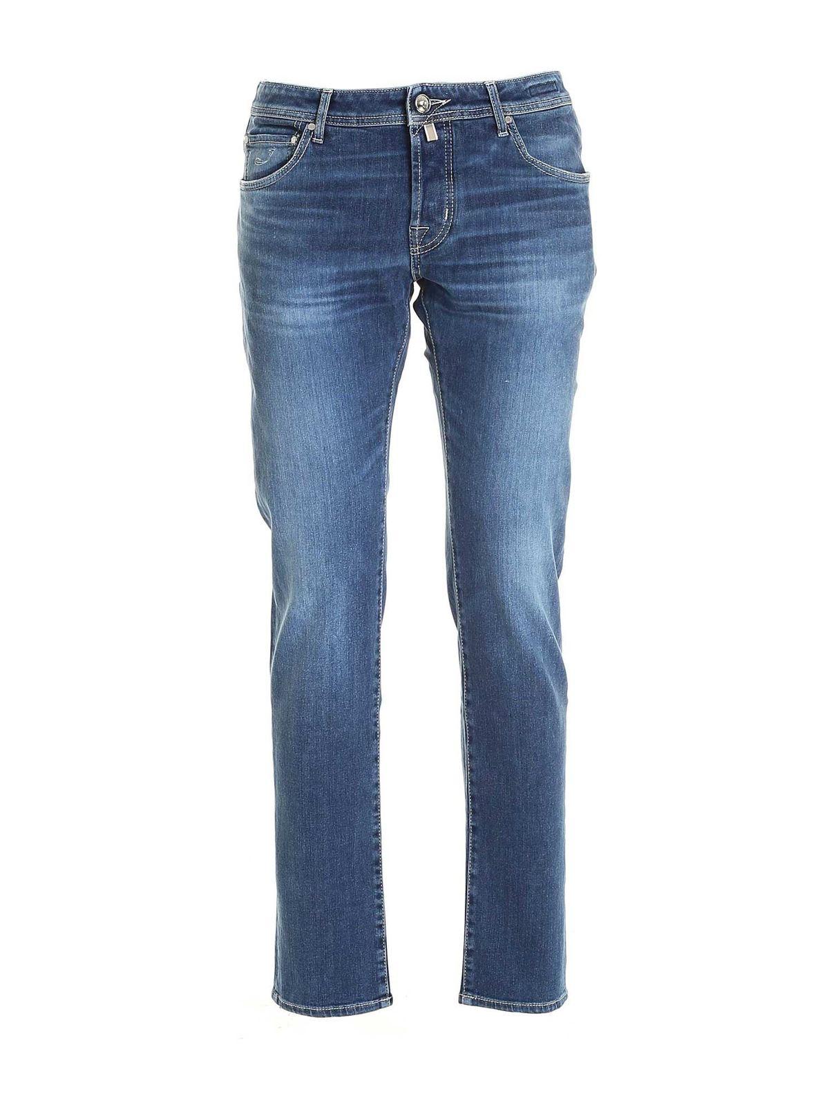 Jacob Cohen Beige Calf Hair Logo Jeans In Blue