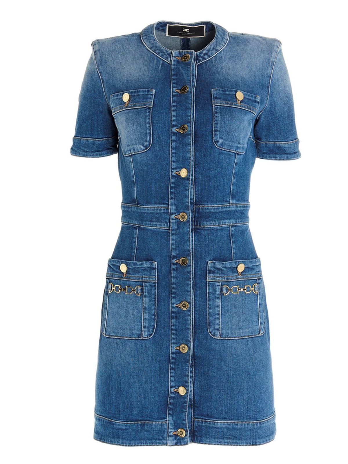 Elisabetta Franchi SHORT DENIM DRESS IN BLUE