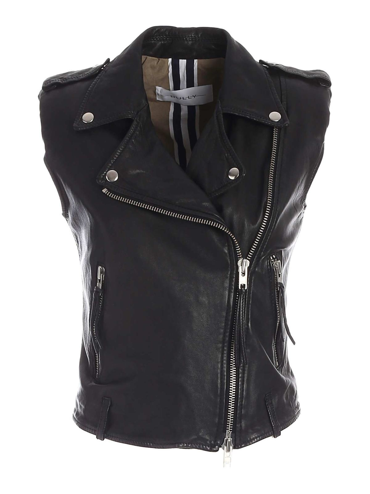 Bully CONTRASTING LINING WAISTCOAT IN BLACK