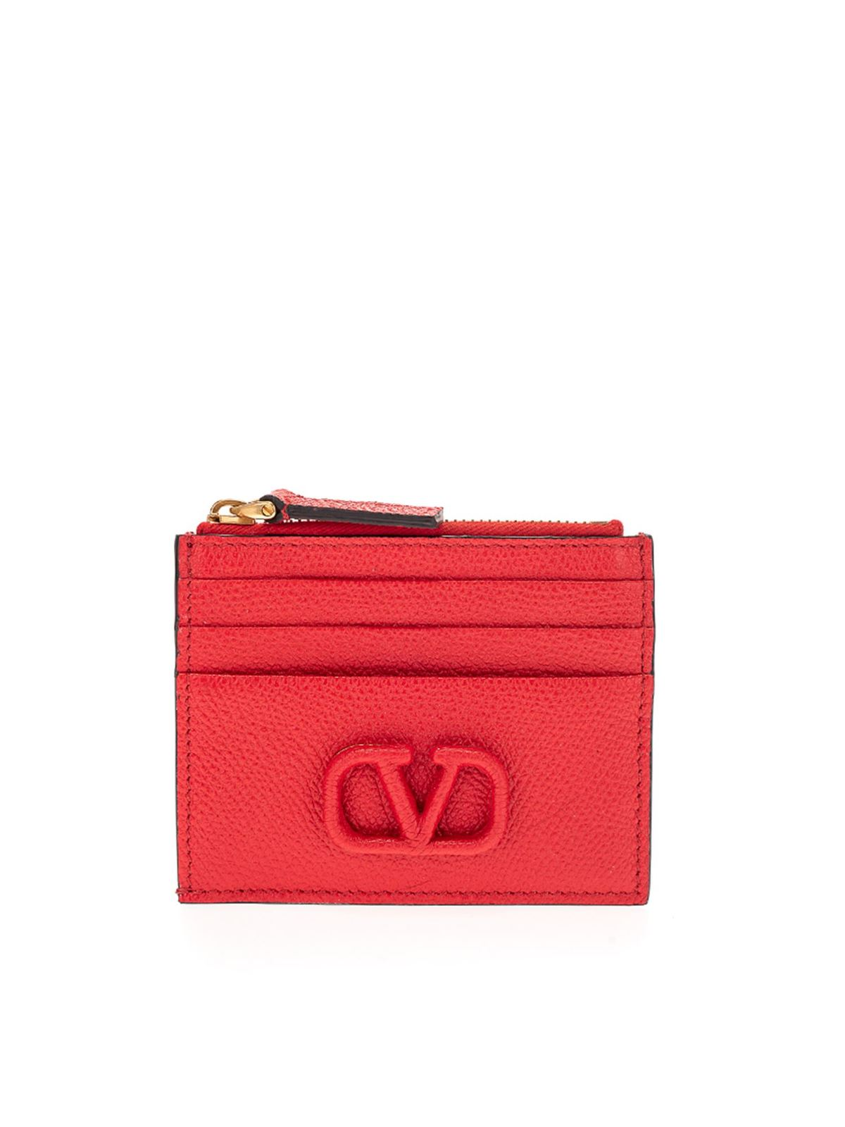 Valentino LOGO WALLET IN PURE RED COLOR