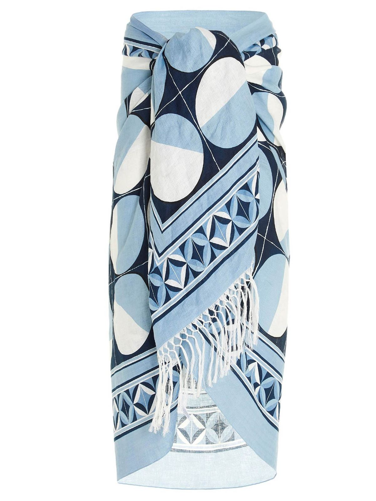 Dolce & Gabbana Majolica Print Beach Towel In Light Blue
