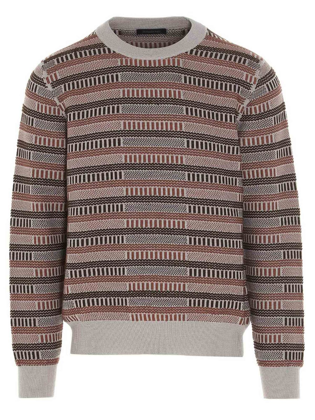 Ermenegildo Zegna Sweaters JACQUARD SWEATER IN BROWN