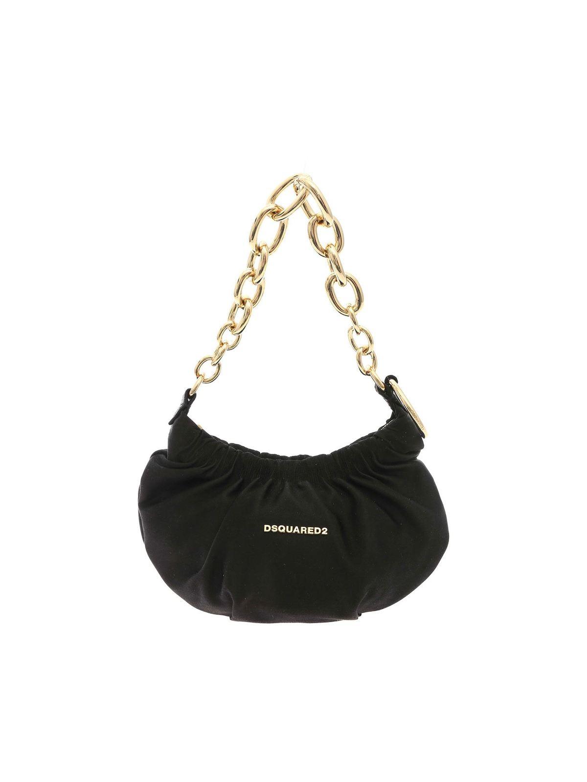 Dsquared2 Shoulder bags LOGO SATIN BAG IN BLACK