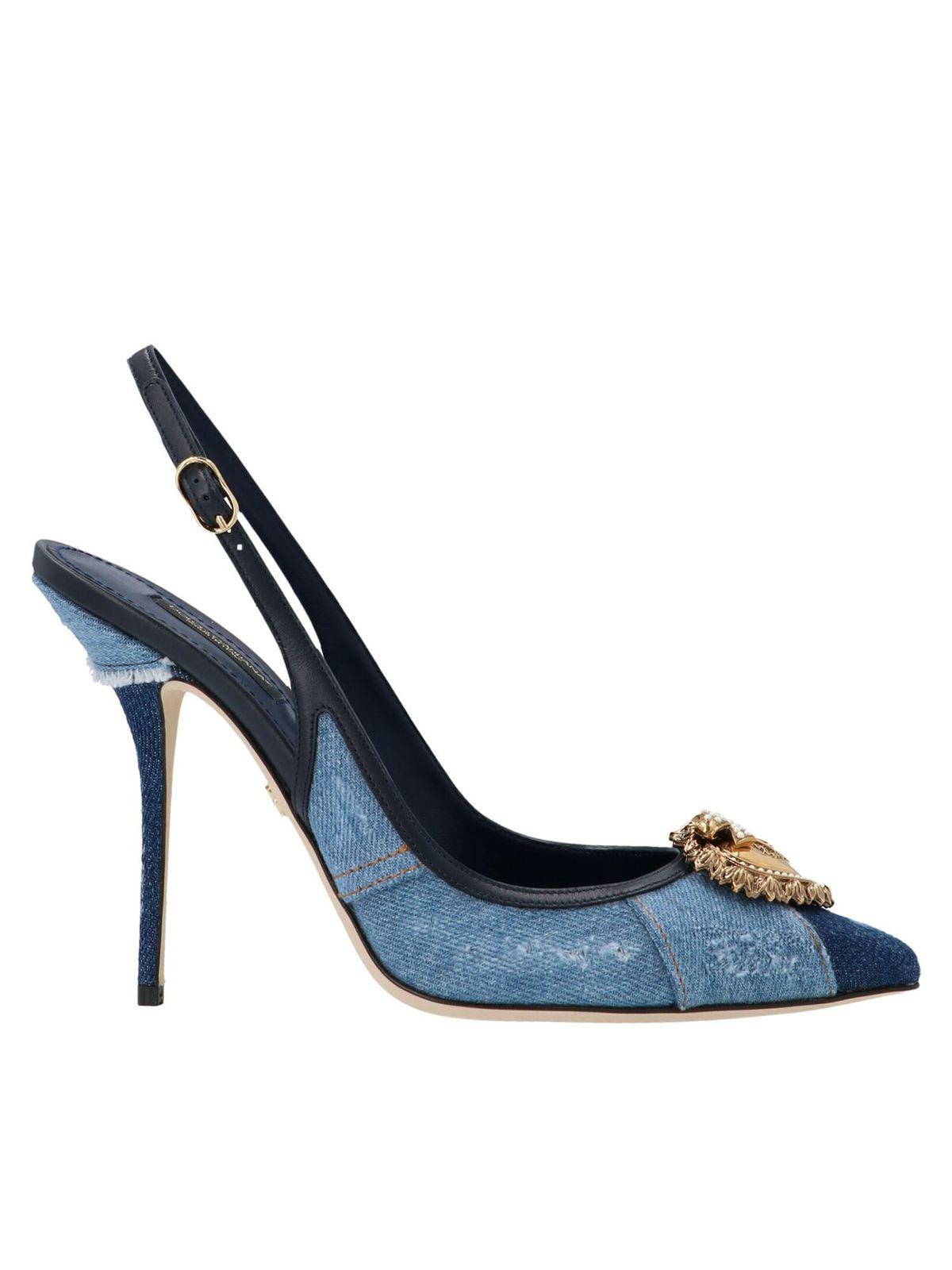 Dolce & Gabbana DEVOTION DENIM SLING BACK PUMPS IN LIGHT BLUE