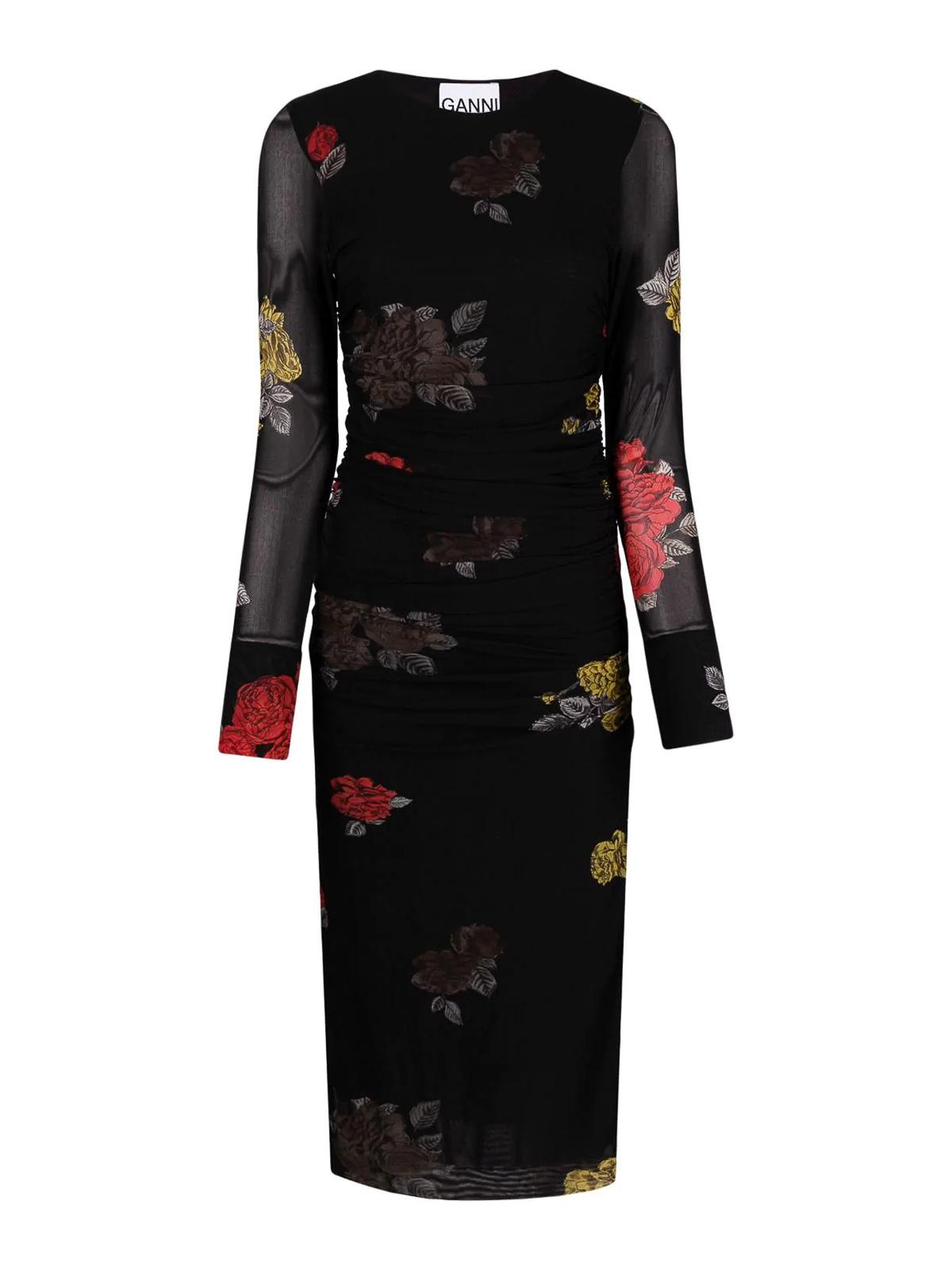 Ganni Dresses SHEATH BLACK DRESS