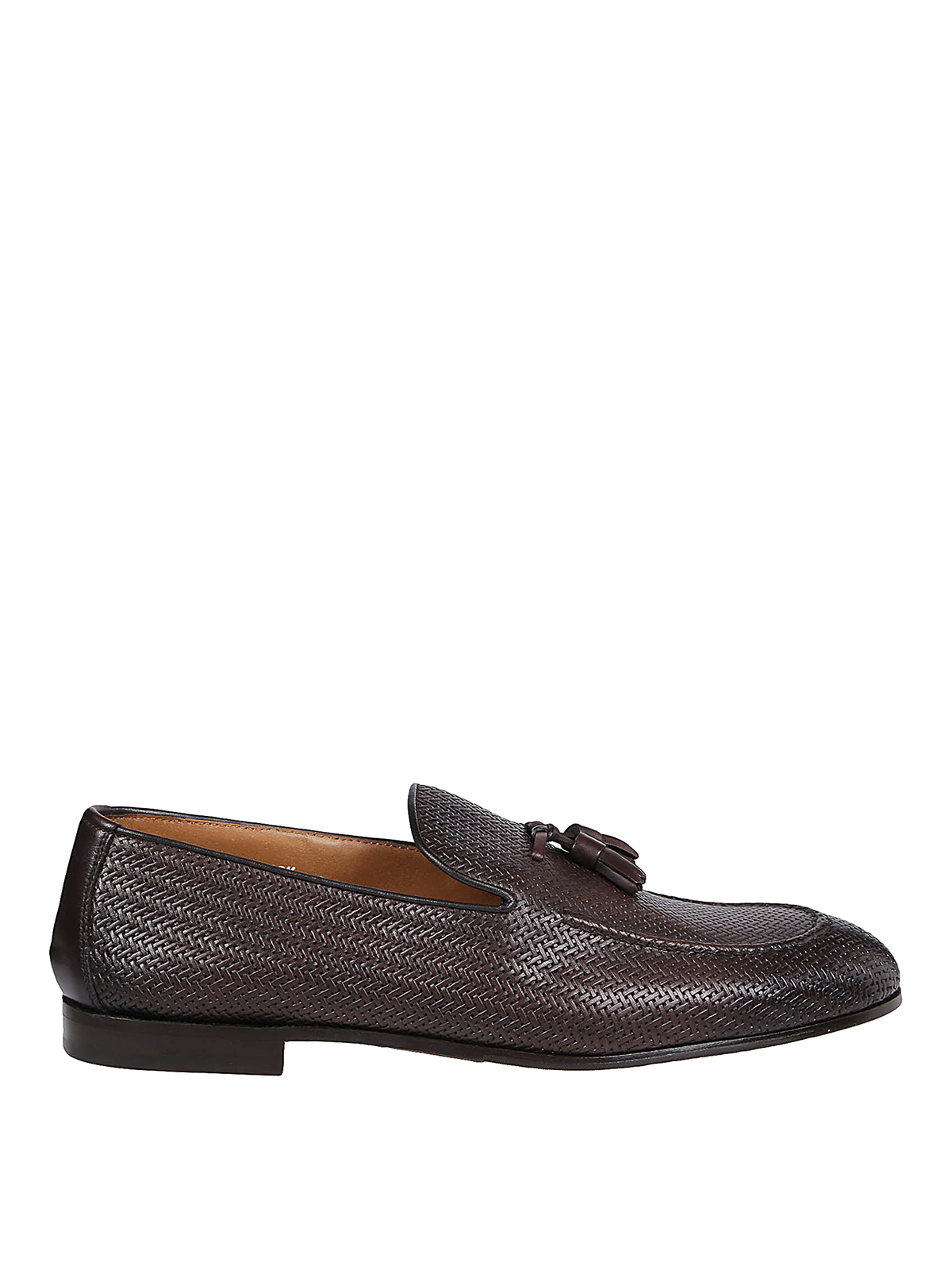 Doucal's Leathers WOVEN LEATHER  LOAFERS WITH TASSEL