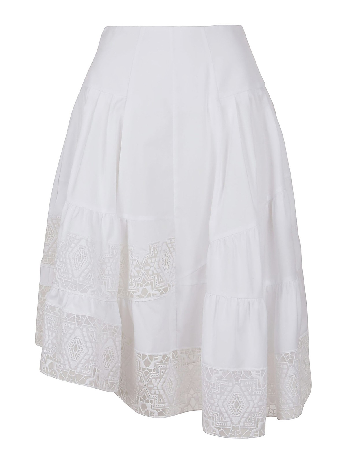 Ermanno Scervino LACE PANEL ASYMMETRIC COTTON SKIRT