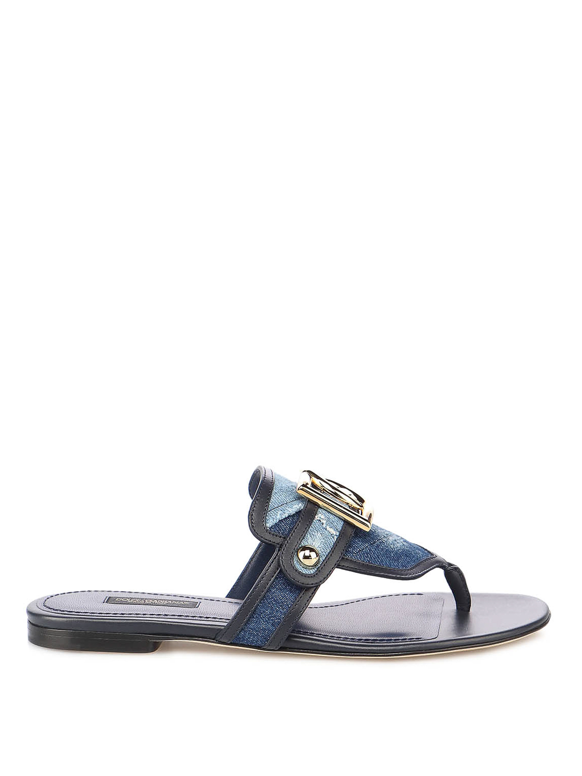 Dolce & Gabbana DENIM AND LEATHER THONG SANDALS