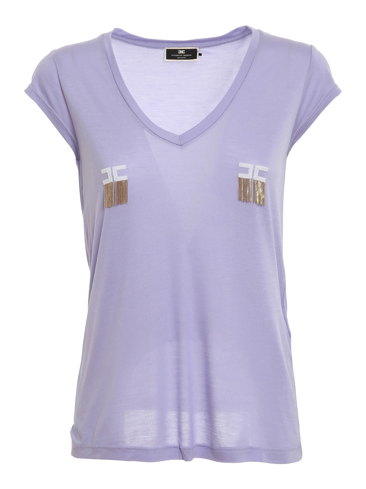 Elisabetta Franchi T-shirts CHAIN DETAILED LOGO T-SHIRT