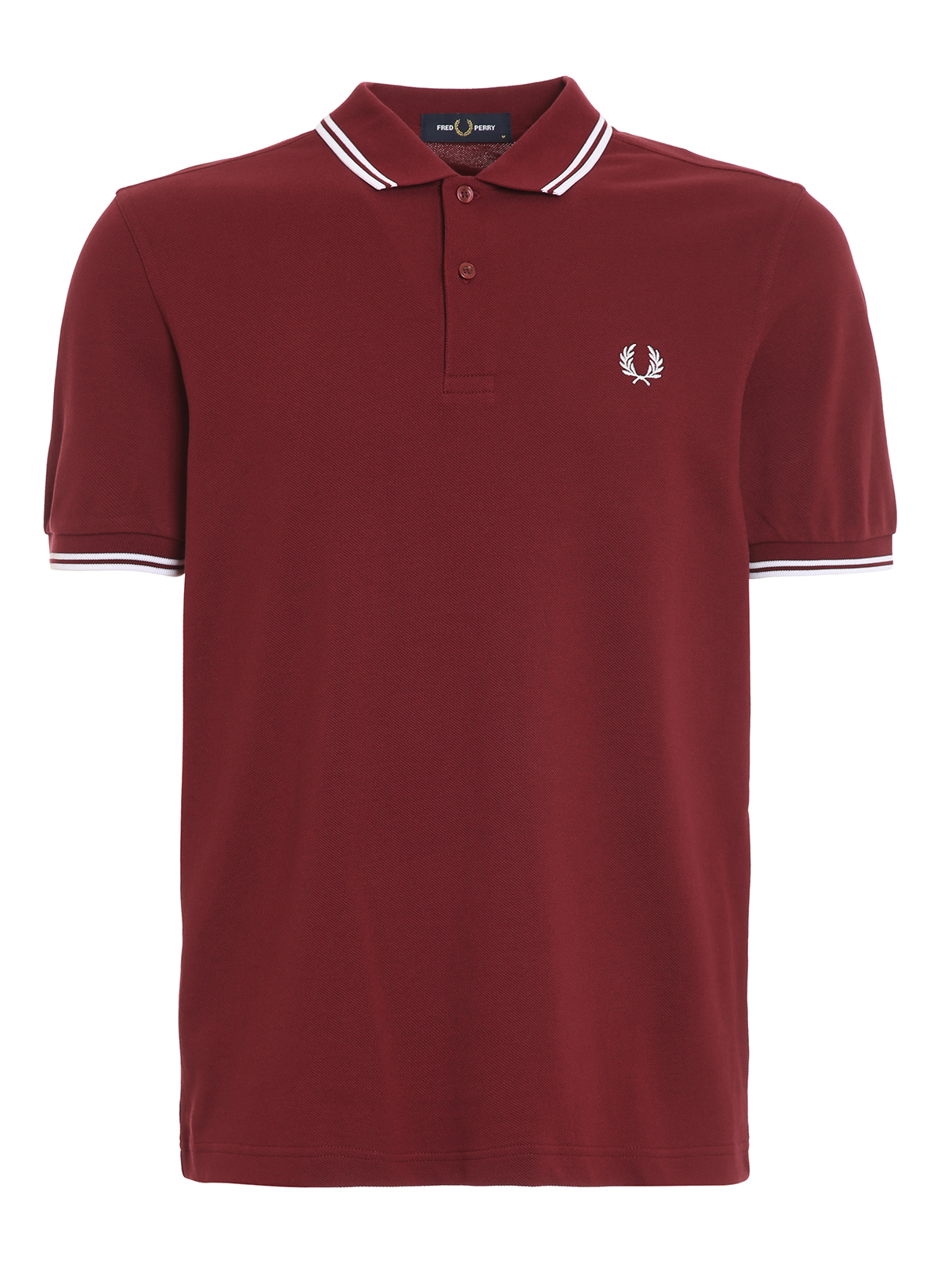 Fred Perry Striped Edge Cotton Piquet Polo In Brown