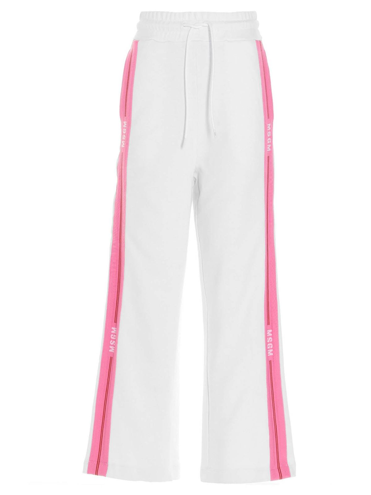 Msgm LOGO BAND JOGGERS IN WHITE