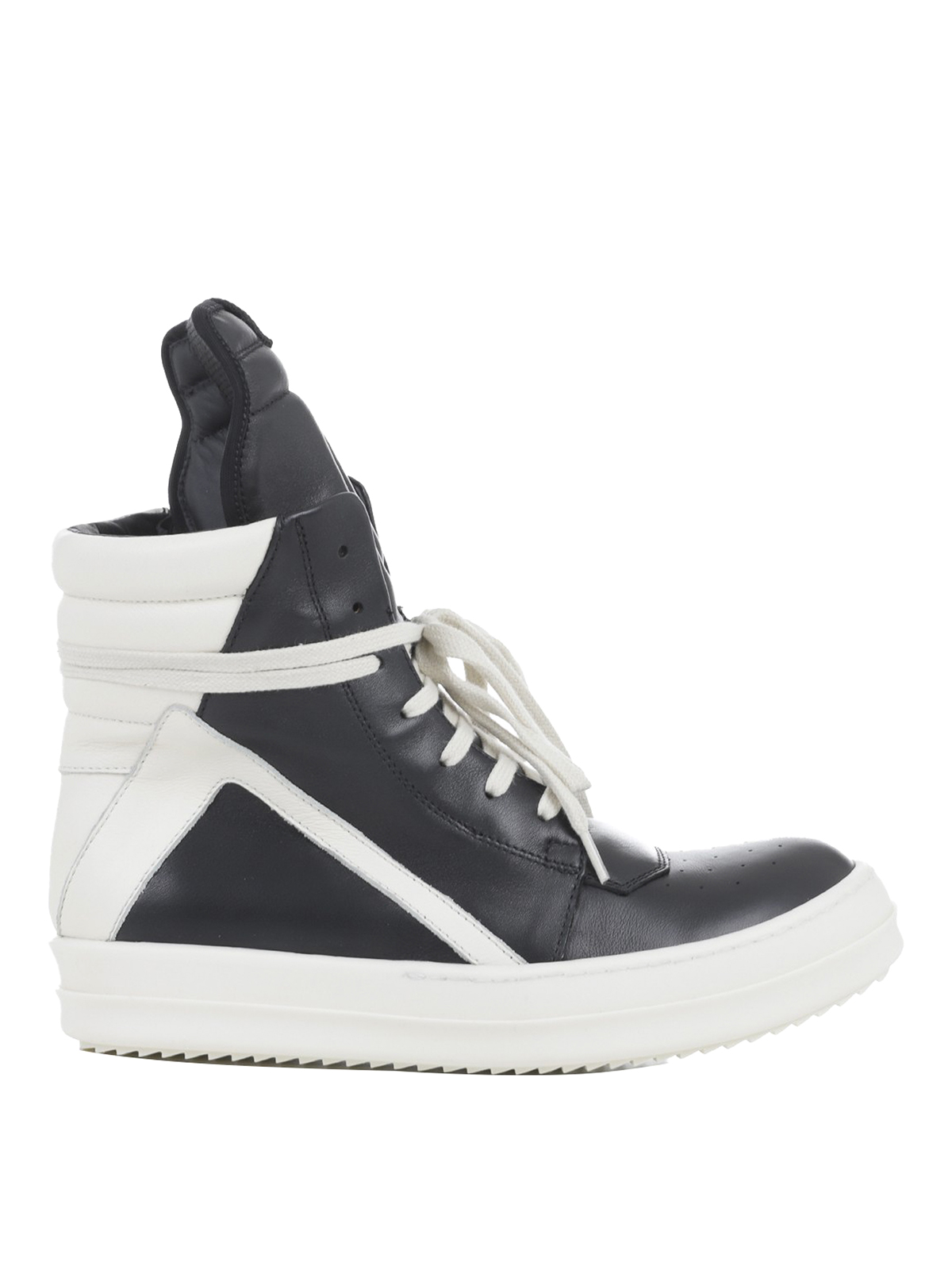 Rick Owens High Top Sneakers In Black And White