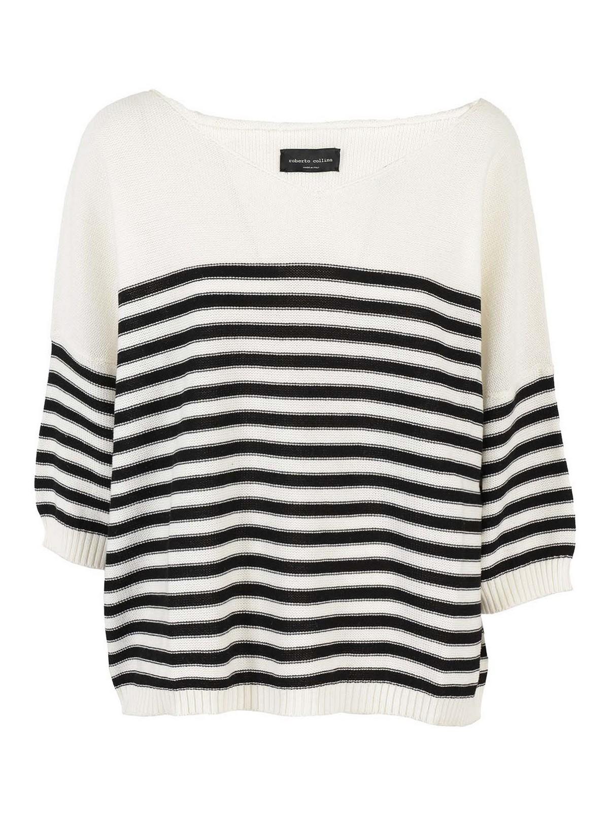 Roberto Collina Sweaters STRIPED COTTON V-NECK SWEATER