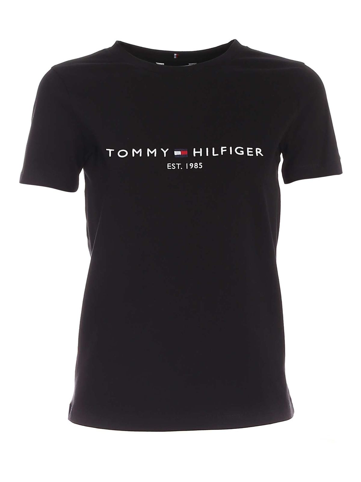 Tommy Hilfiger Logo Embroidery T-shirt In Black