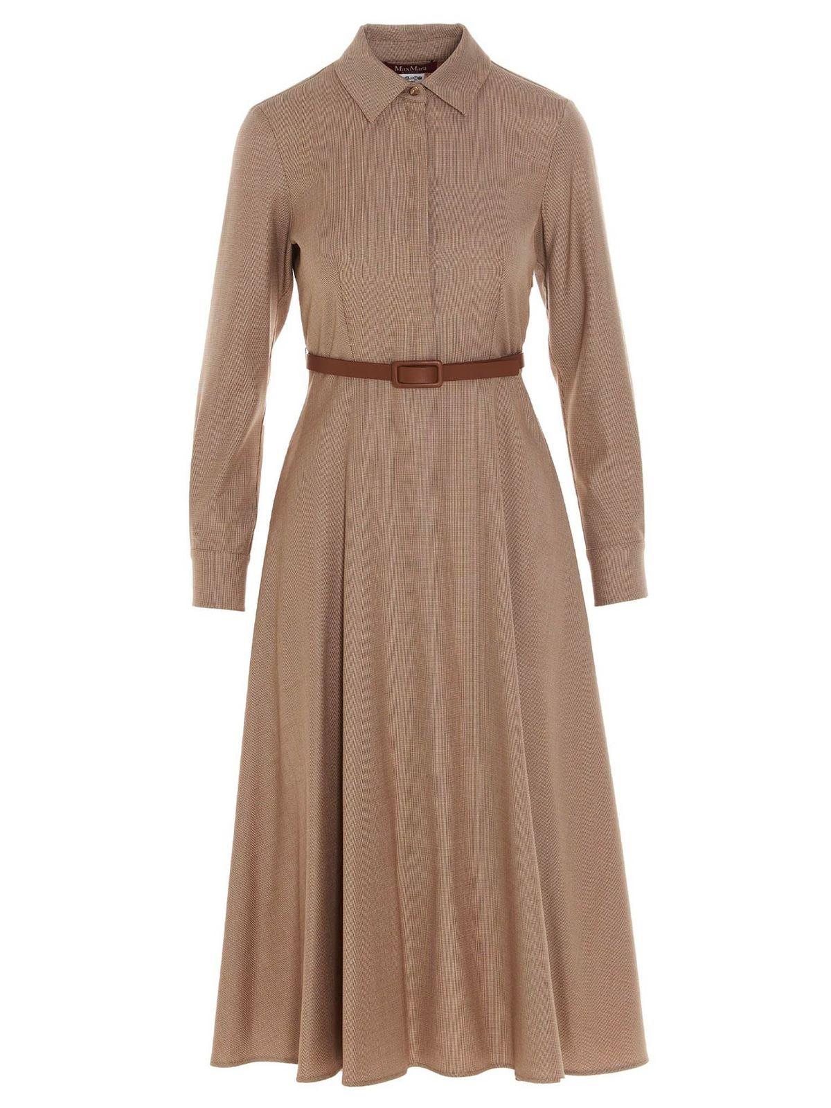 Max Mara Dresses MARABOU DRESS IN BEIGE