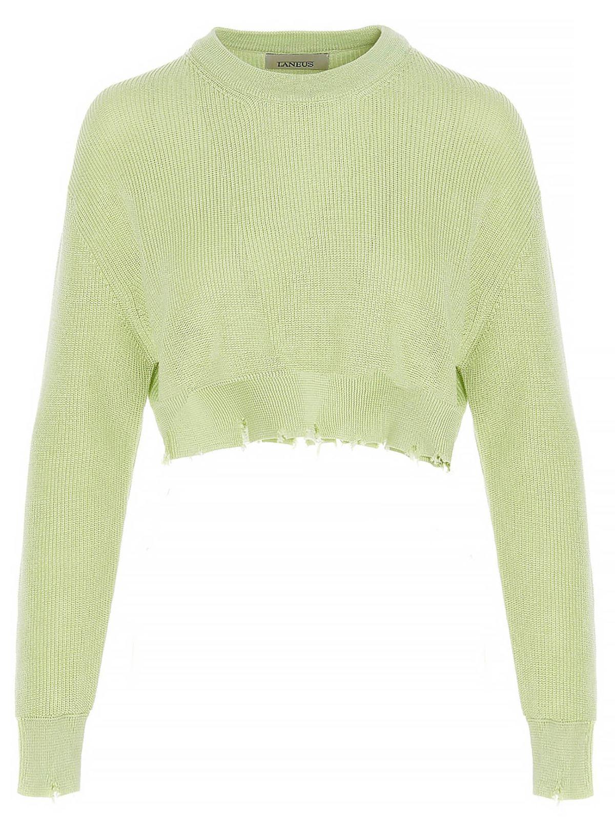 Laneus Cottons DESTROYED HEM CROP SWEATER IN GREEN