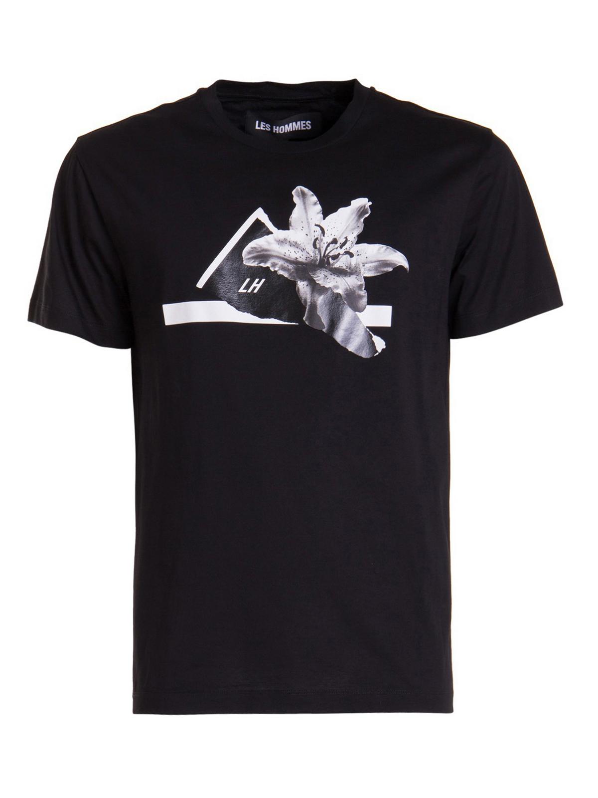 Les Hommes T-shirts FLORAL PRINT T-SHIRT