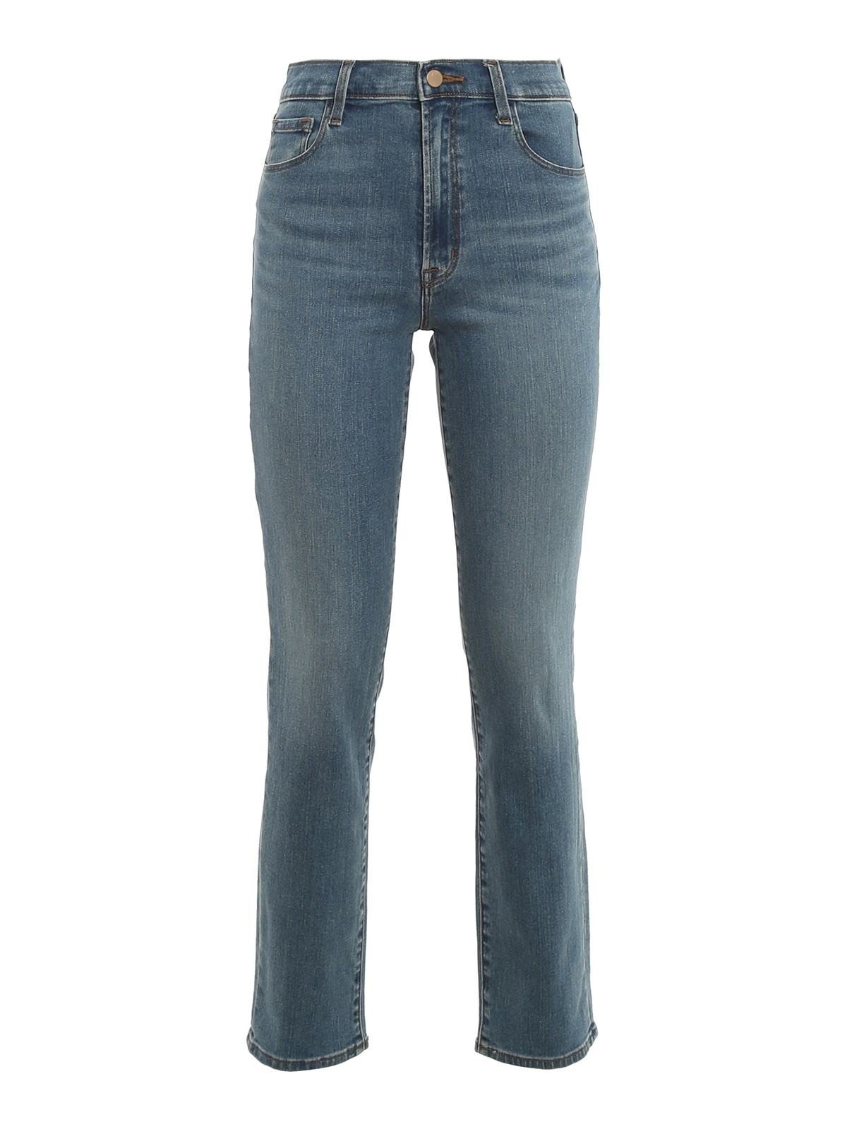 J Brand High Waisted Straight Fit Jeans In Medium Wash
