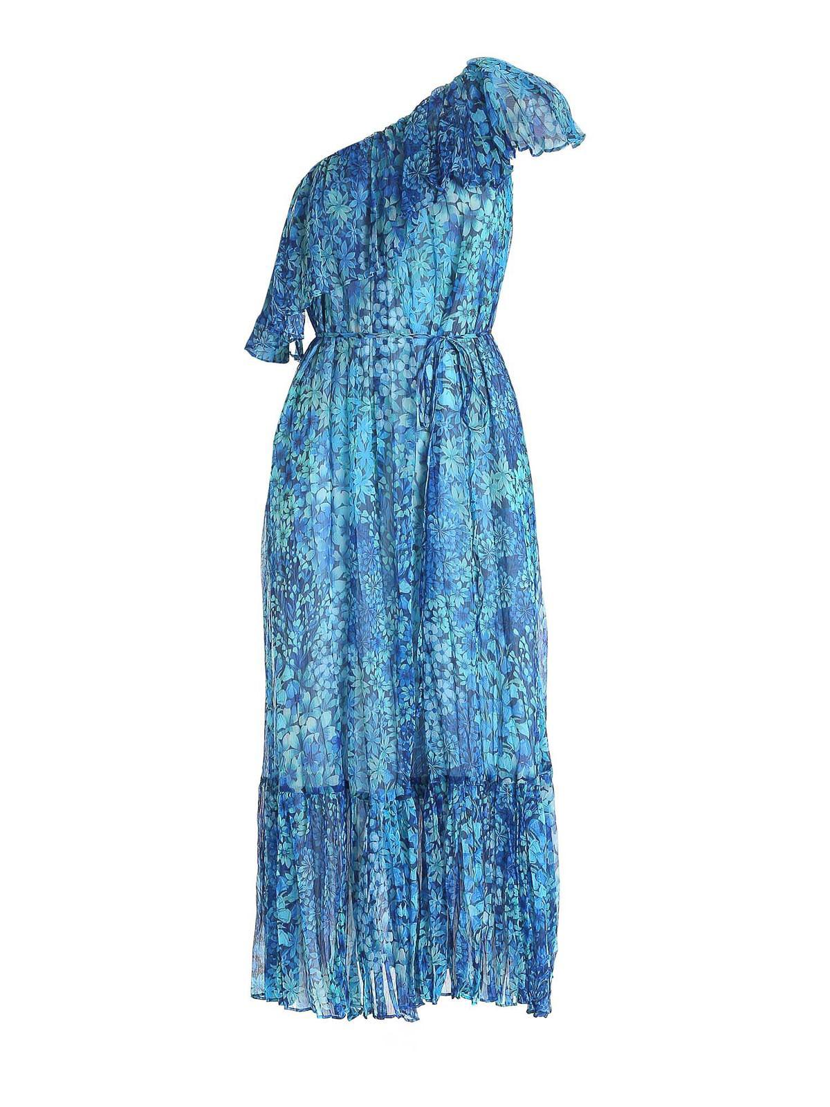 Twinset FLORAL PATTERNED CREPONNE ONE-SHOULDER DRESS