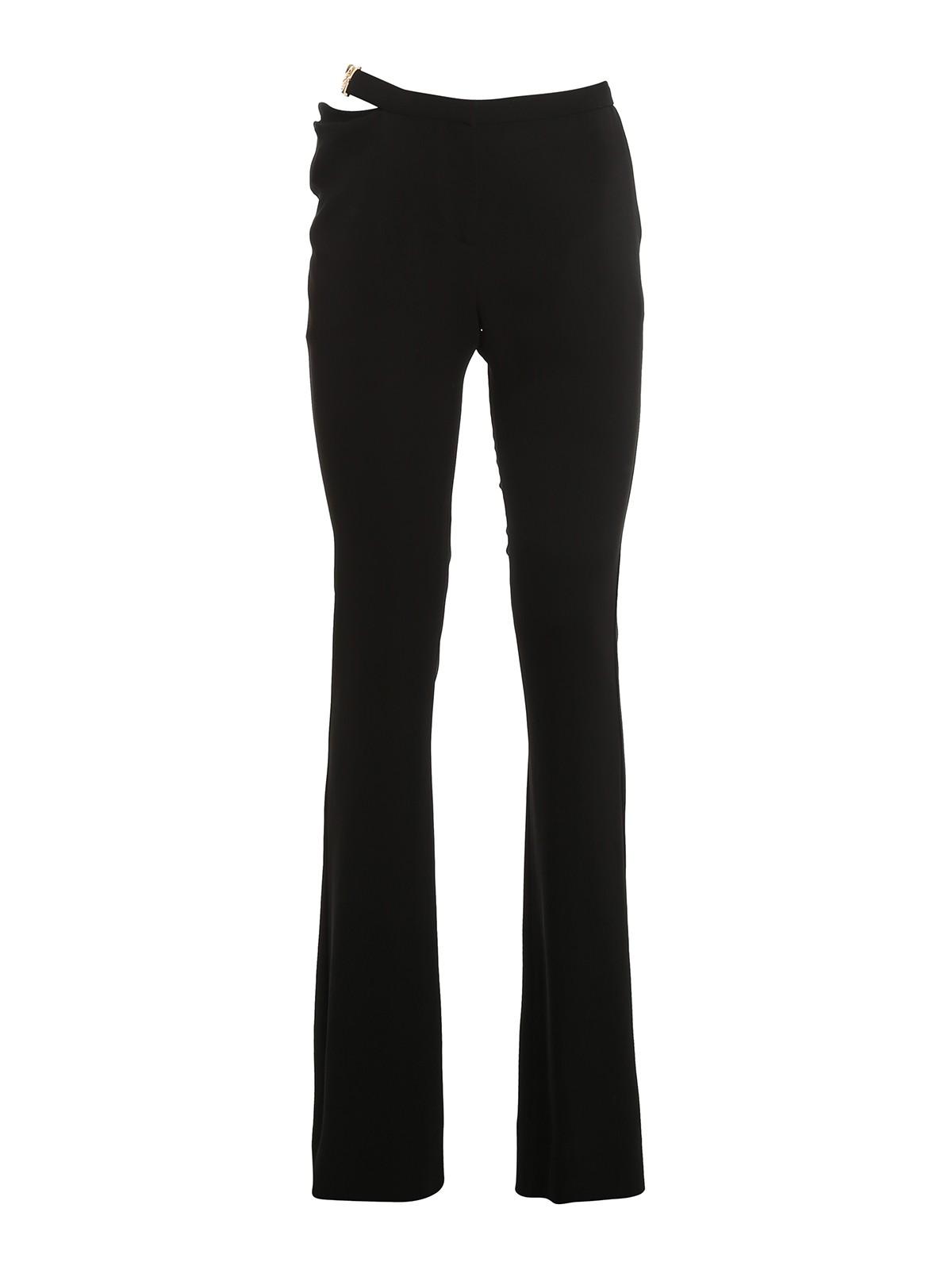 Versace Skinny Stretch-wool Pants In Nero