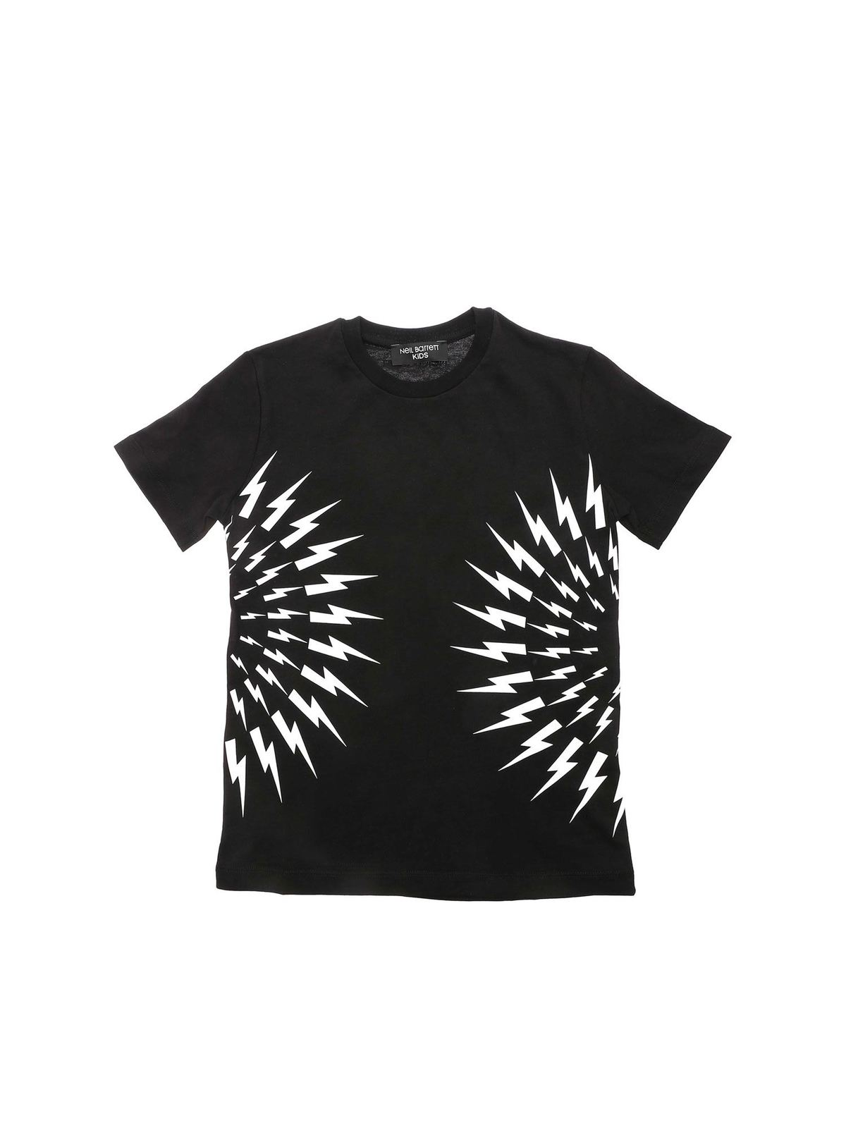 Neil Barrett Cottons CONTRASTING PRINT T-SHIRT IN BLACK