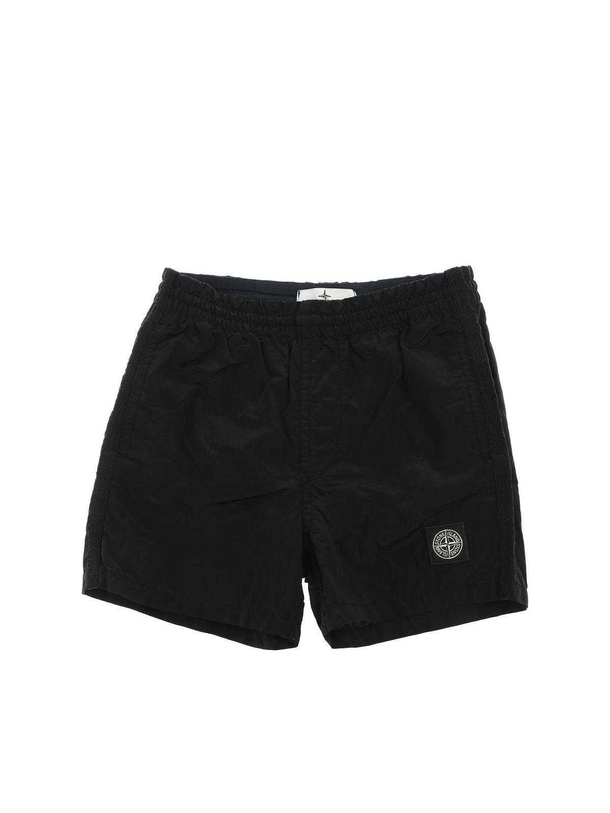 Stone Island Junior Linings LOGO SWIM SHORTS IN BLACK
