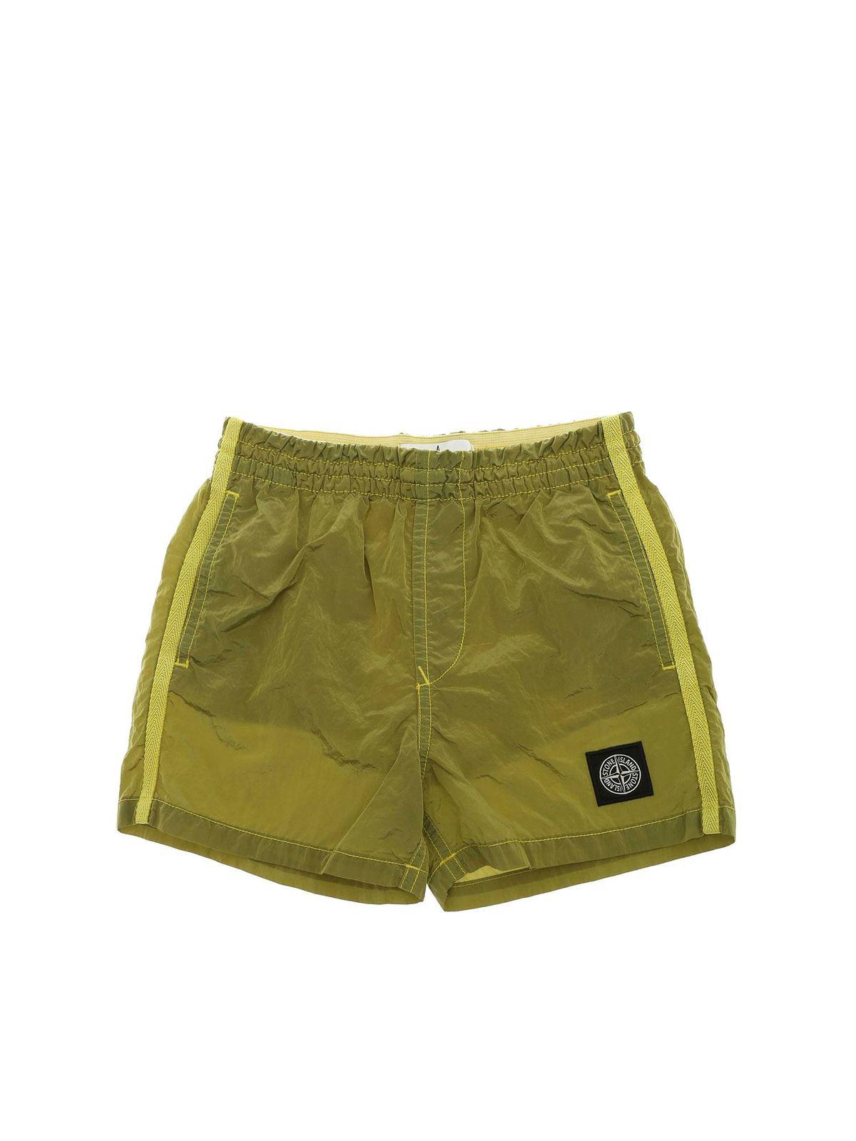 Stone Island Junior Shorts LOGO SWIM SHORT IN GREEN