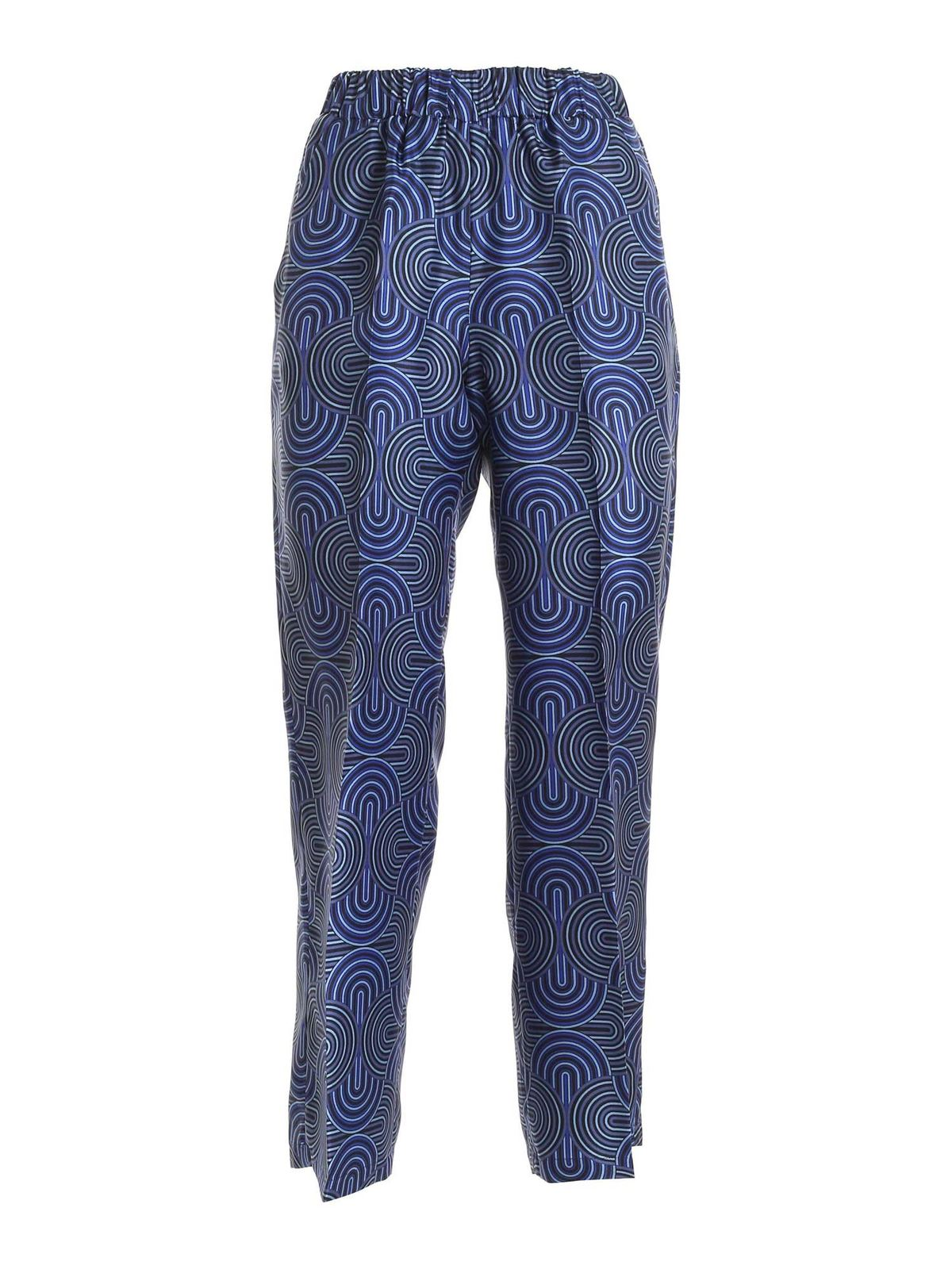 True Royal Silks DAKAR TWILL SILK PANTS IN GEOMETRIC PRINT