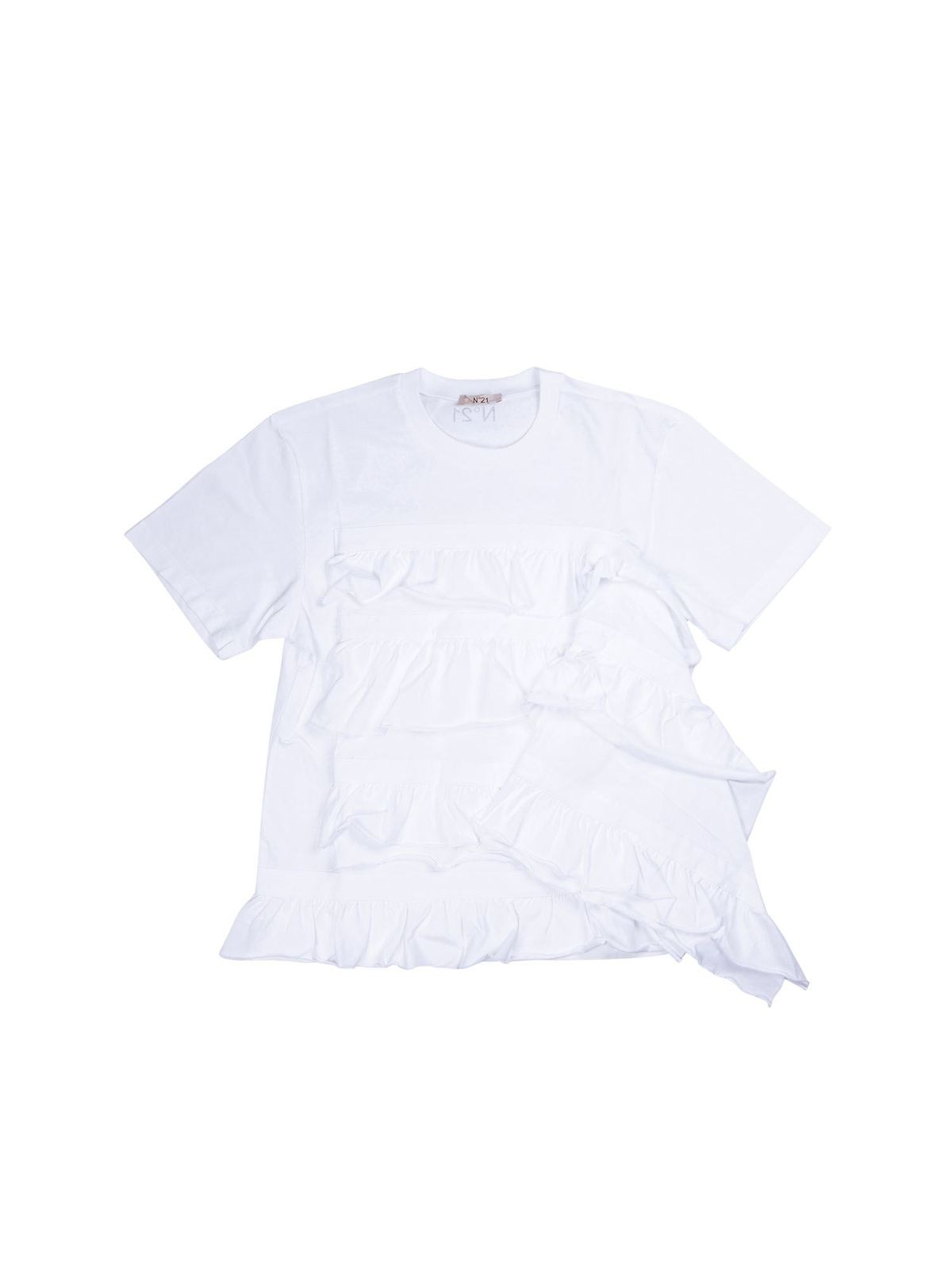 N°21 FLOUNCED T-SHIRT IN WHITE