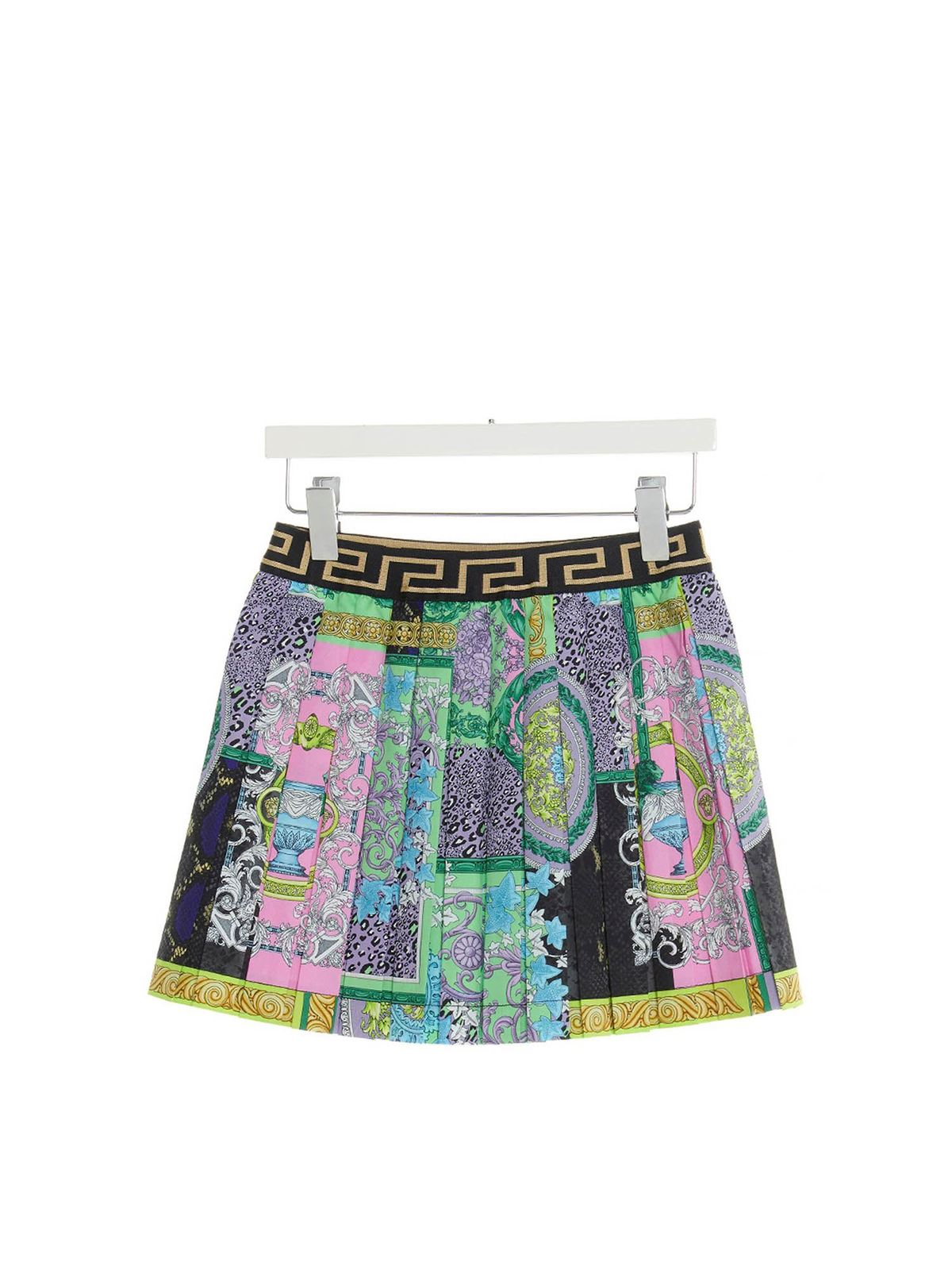 Versace Young BAROCCO PATCHWORK PLEATED SKIRT IN GREEN