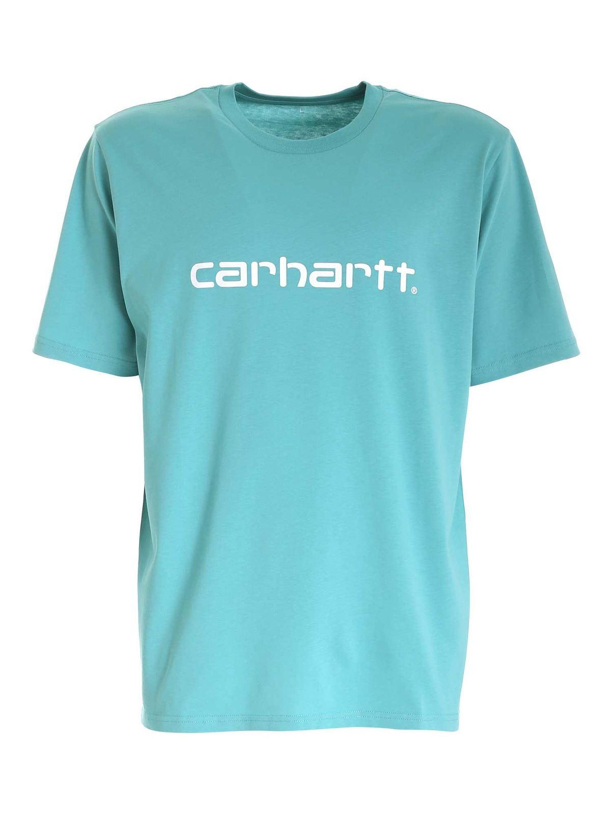 Carhartt WHITE LOGO PRINT T-SHIRT IN LIGHT BLUE