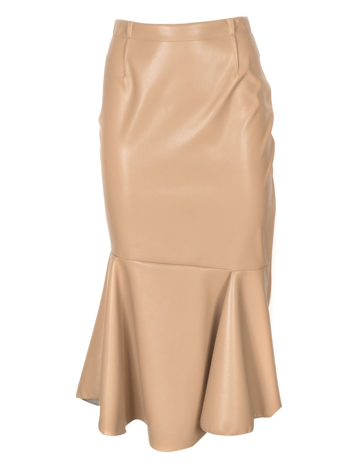 Sportmax CASA SYNTHETIC LEATHER SKIRT IN BEIGE