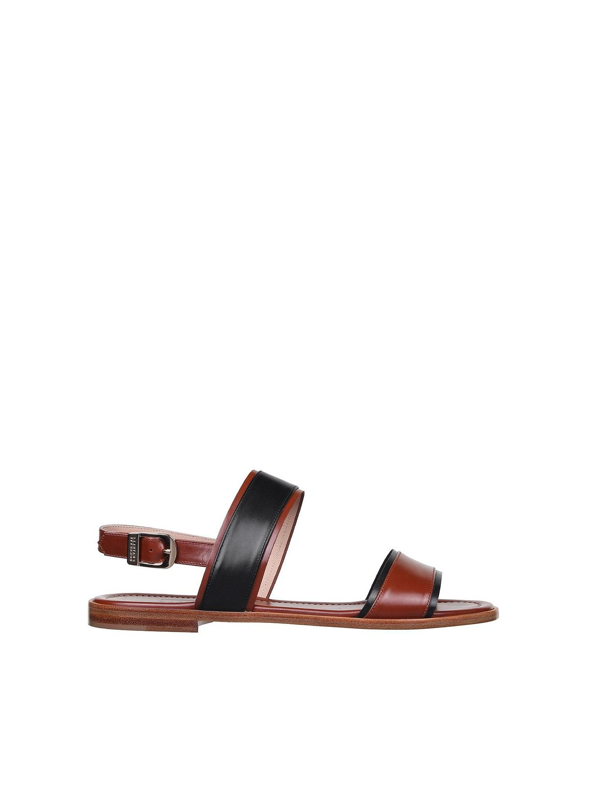 Fratelli Rossetti TWO-TONE SANDALS IN BROWN AND BLACK