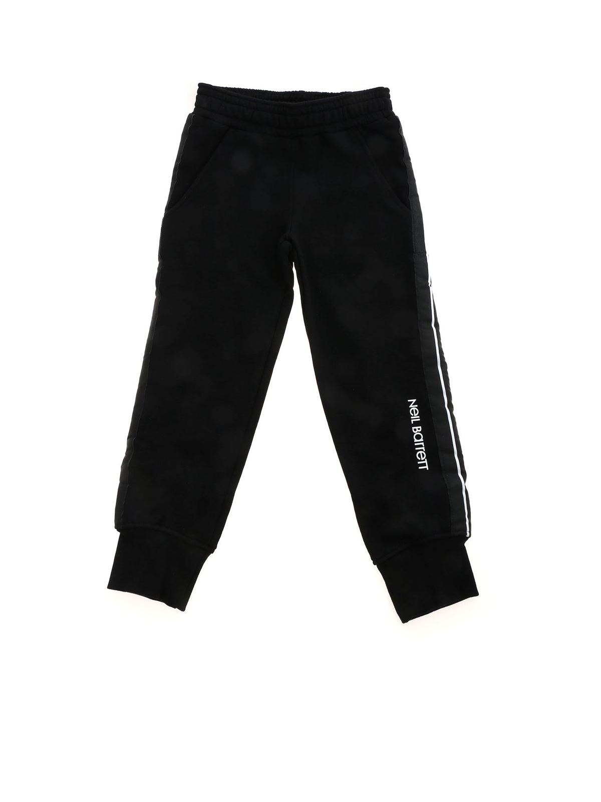 Neil Barrett STRIPED BAND PANTS IN BLACK