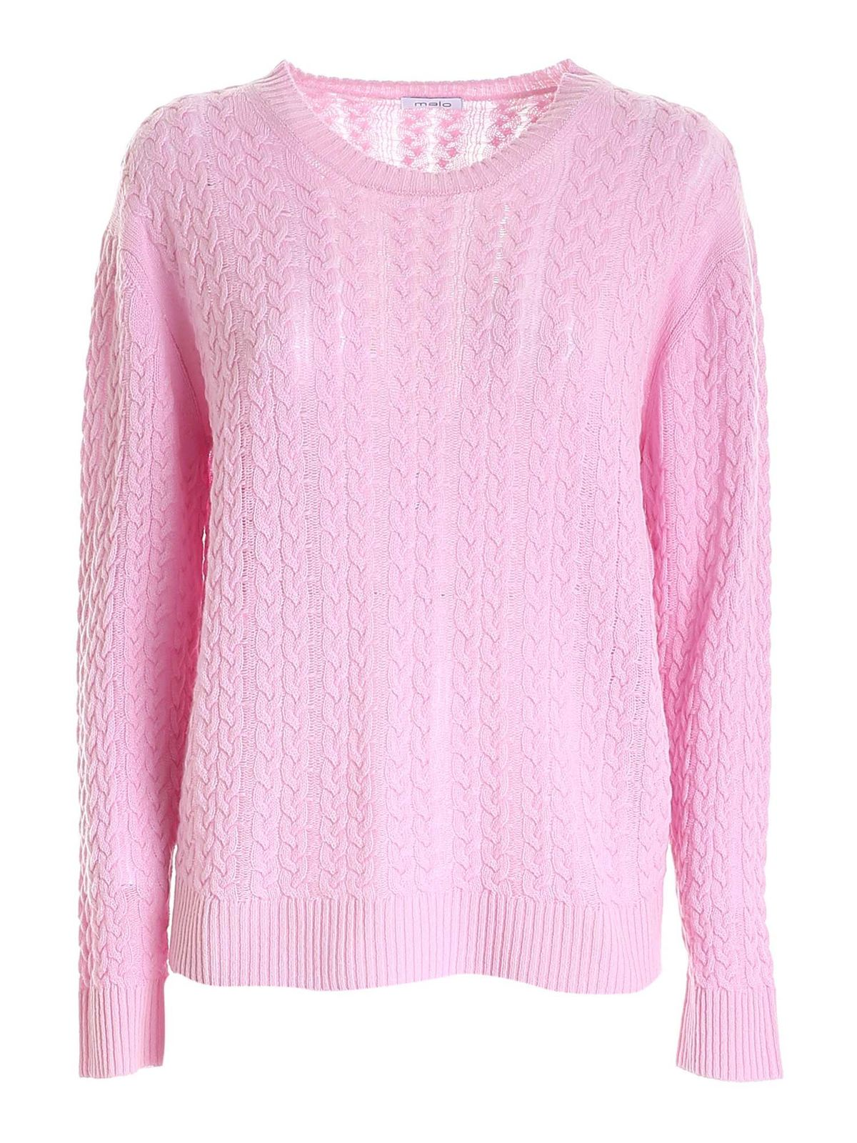 Malo Cashmeres CABLE KNIT CASHMERE SWEATER IN PINK